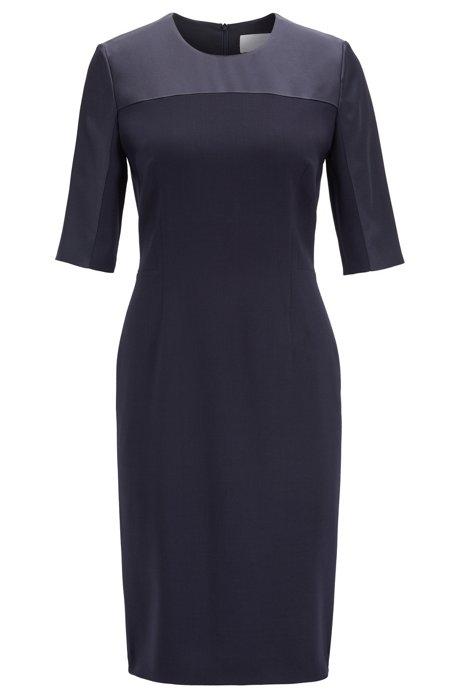 Cropped-sleeved dress in stretch virgin wool, Dark Blue
