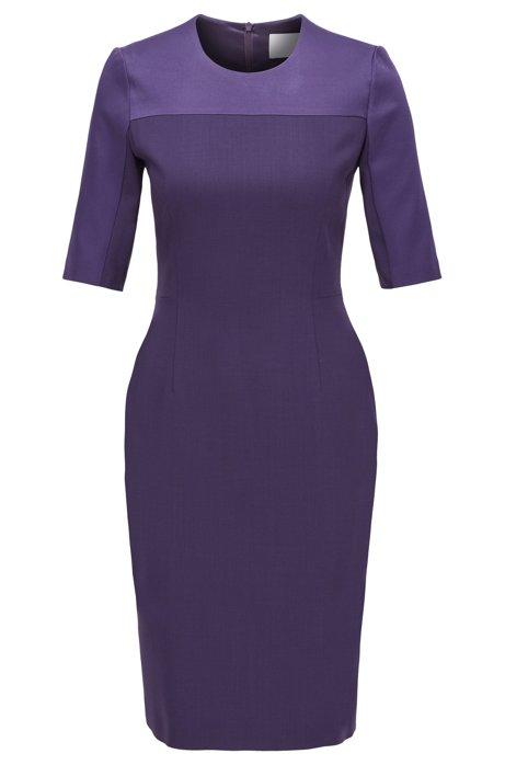 Cropped-sleeved dress in stretch virgin wool, Dark Purple