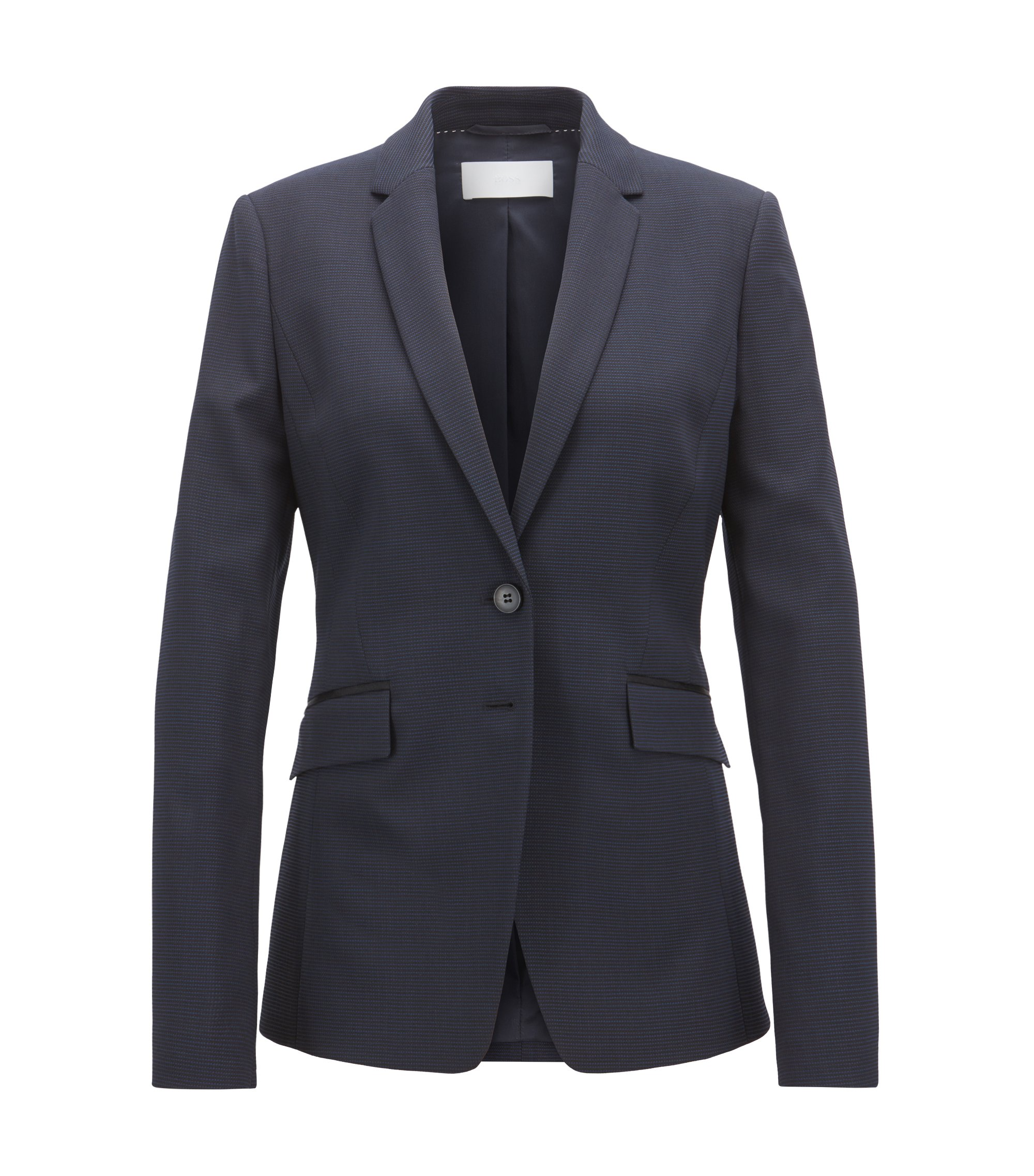 Regular-fit blazer in Italian stretch virgin wool, Patterned