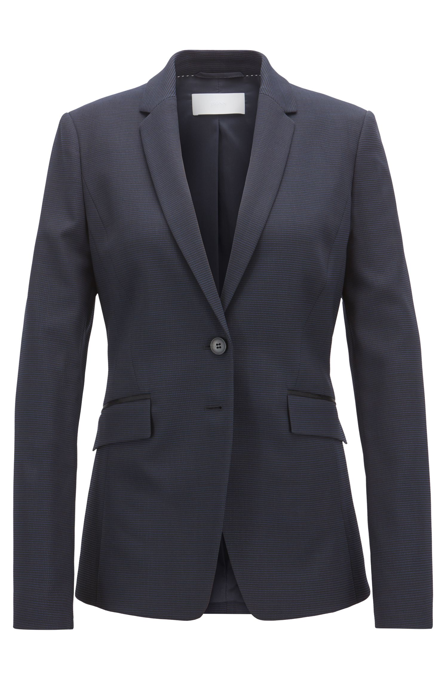 Regular-fit blazer van Italiaans scheerwol met stretch, Bedrukt