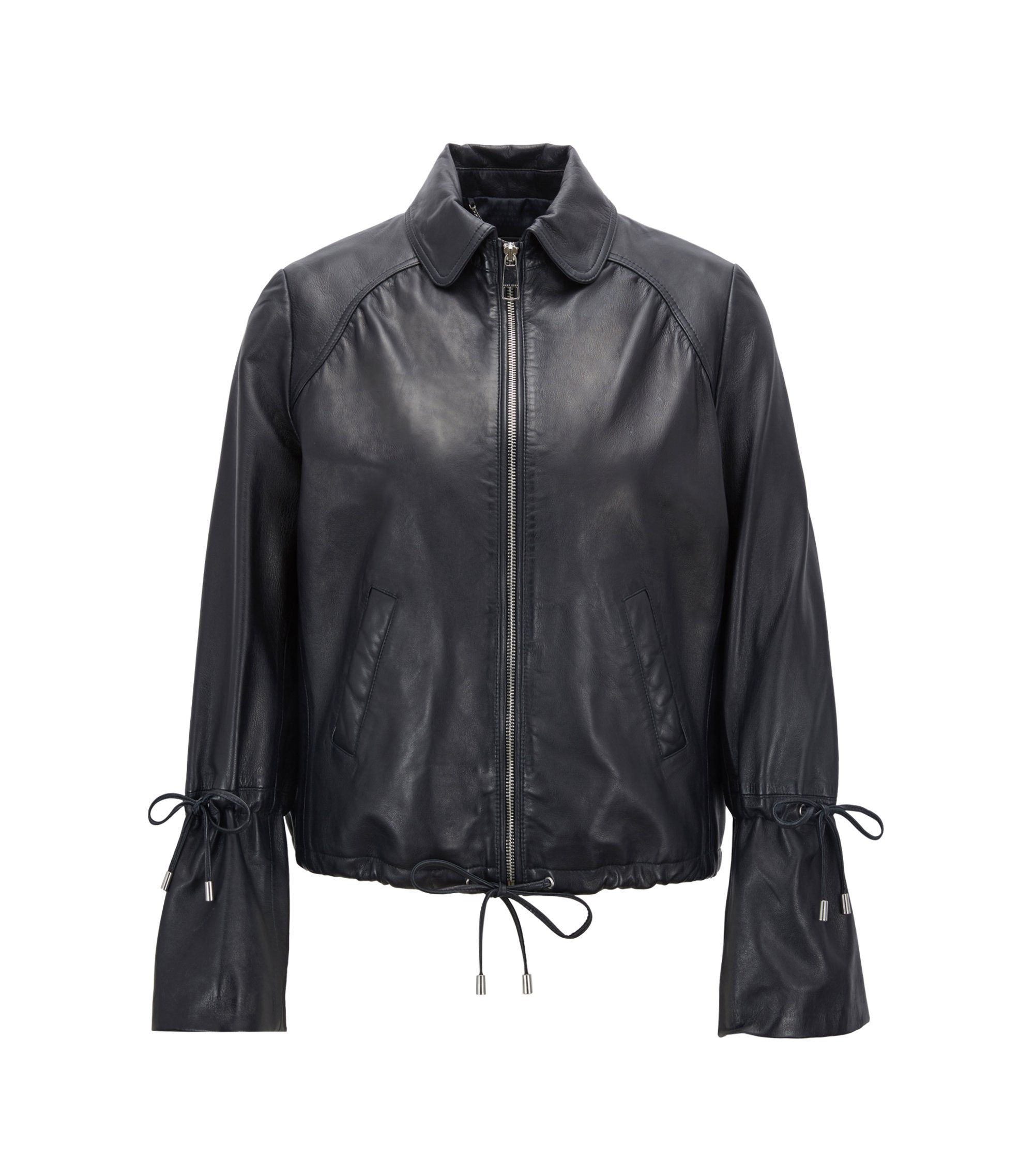 Bomber jacket in nappa lambskin with gathering detail, Dark Blue