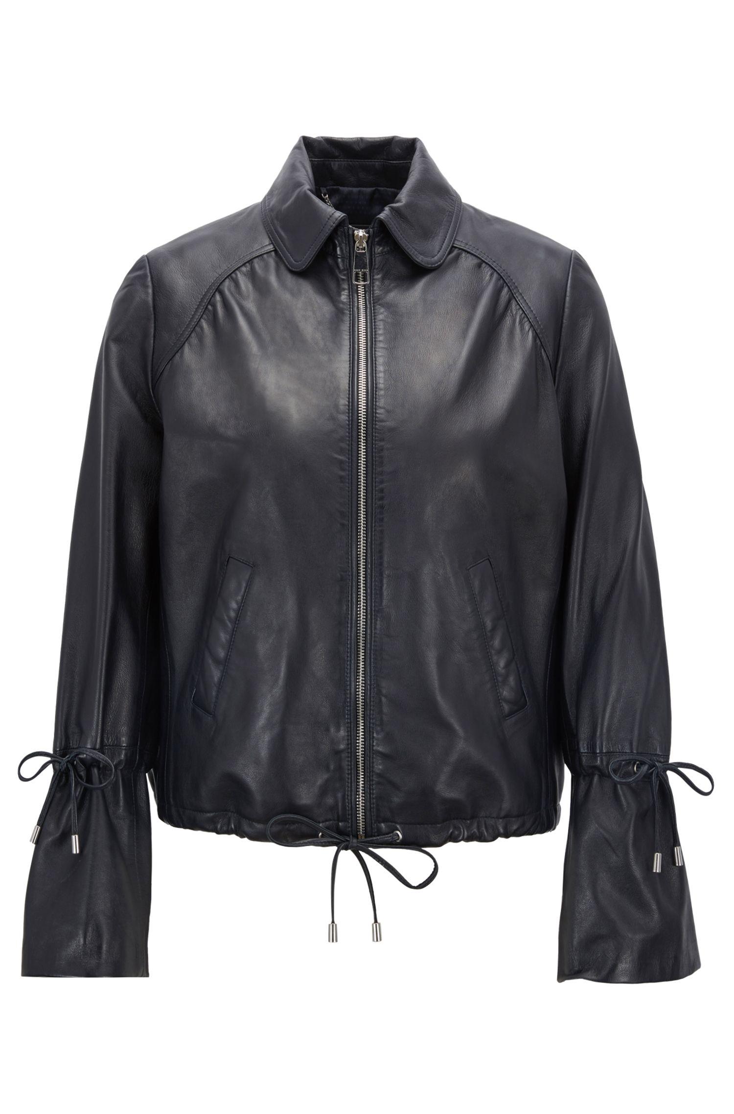 Bomber jacket in nappa lambskin with gathering detail, Dark Blue