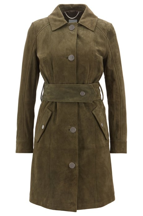 Suede trench coat with metal trims, Khaki