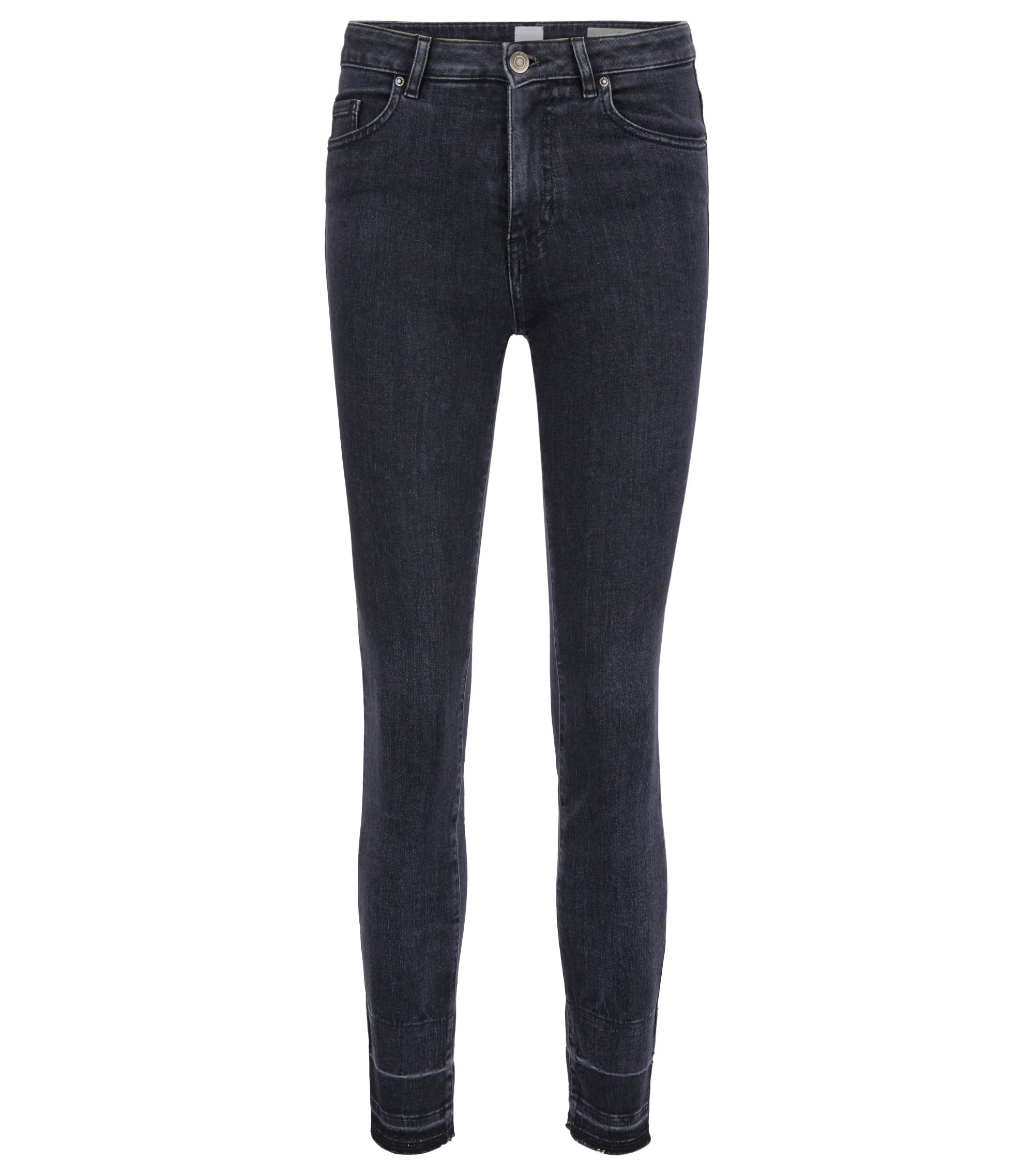 Cropped skinny-fit jeans in power-stretch denim, Dark Grey