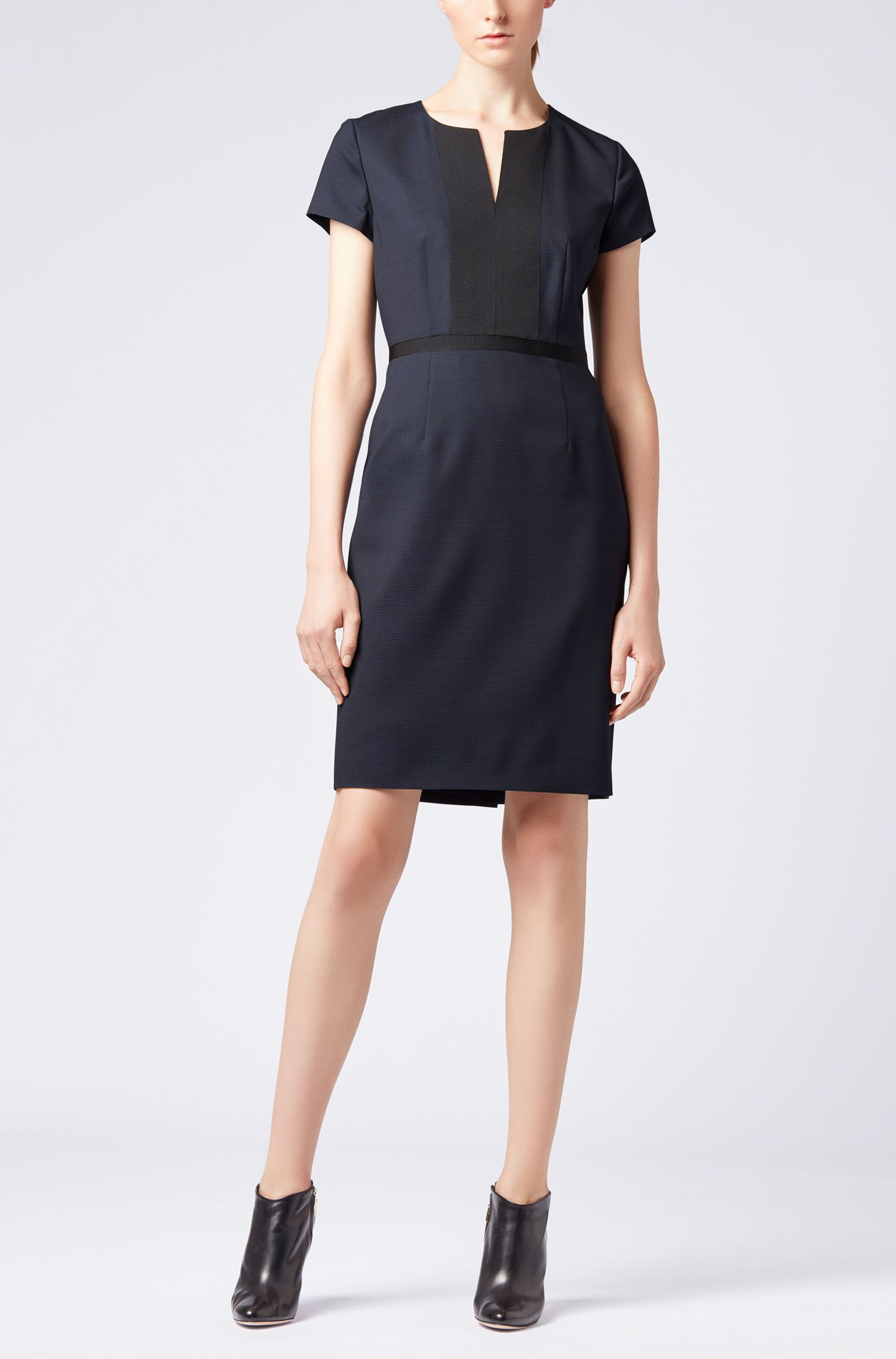 Hugo Boss - Shift dress in Italian stretch wool with notch neckline - 2