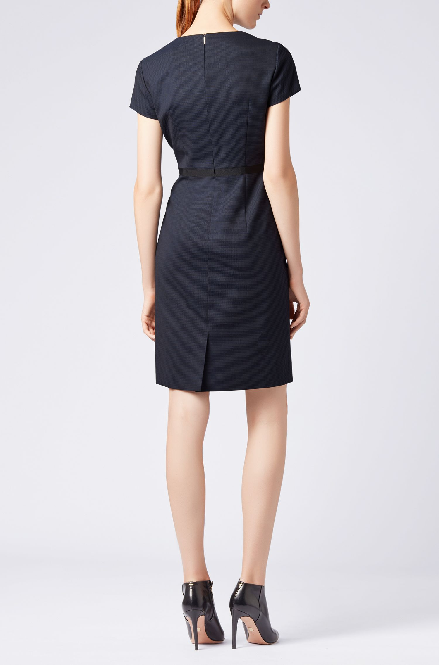 Hugo Boss - Shift dress in Italian stretch wool with notch neckline - 3