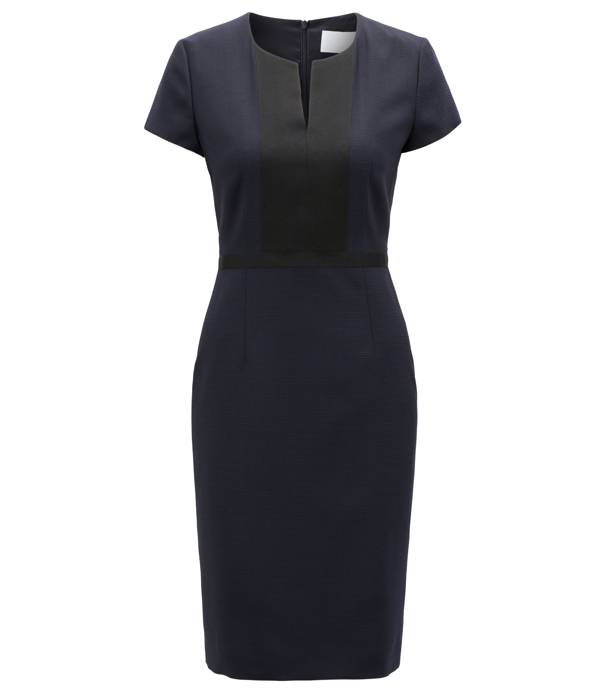 Shift dress in Italian stretch wool with notch neckline, Gemustert