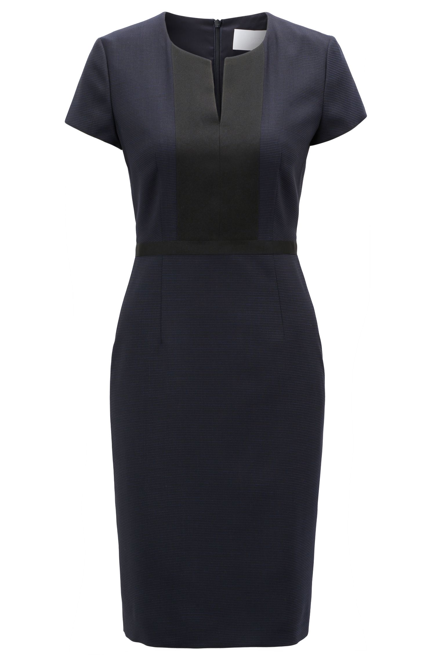 Shift dress in Italian stretch wool with notch neckline, Patterned