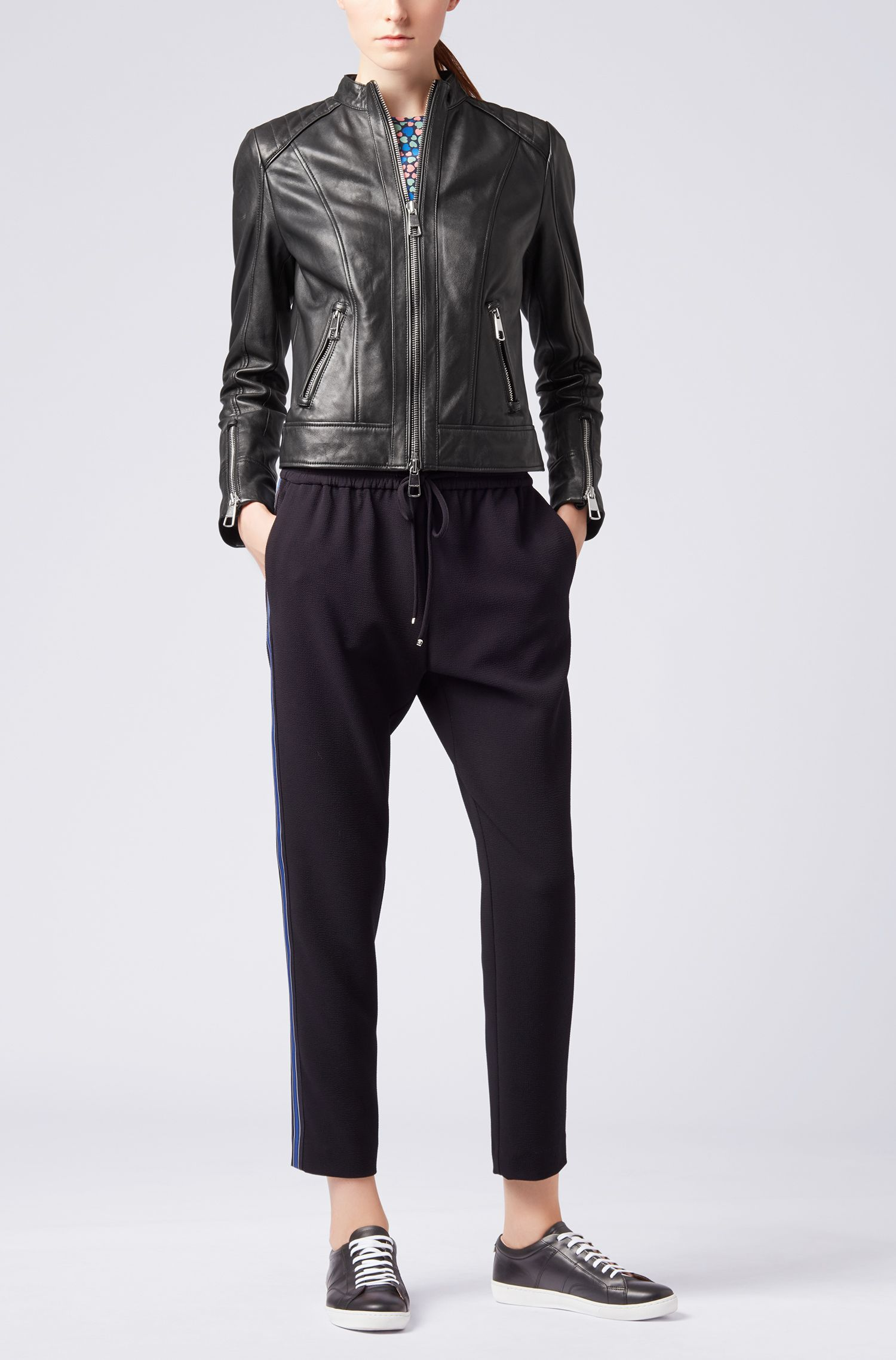 Regular-fit biker jacket in lambskin nappa leather, Black