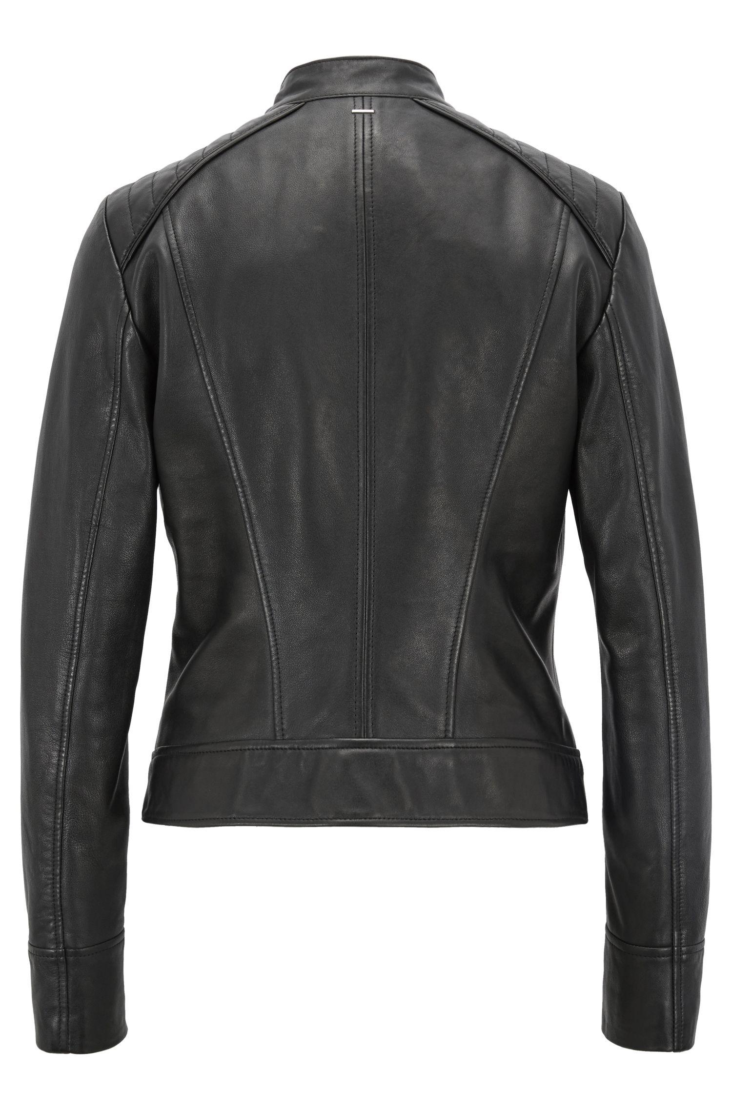 Cazadora biker regular fit en piel de napa de cordero, Negro