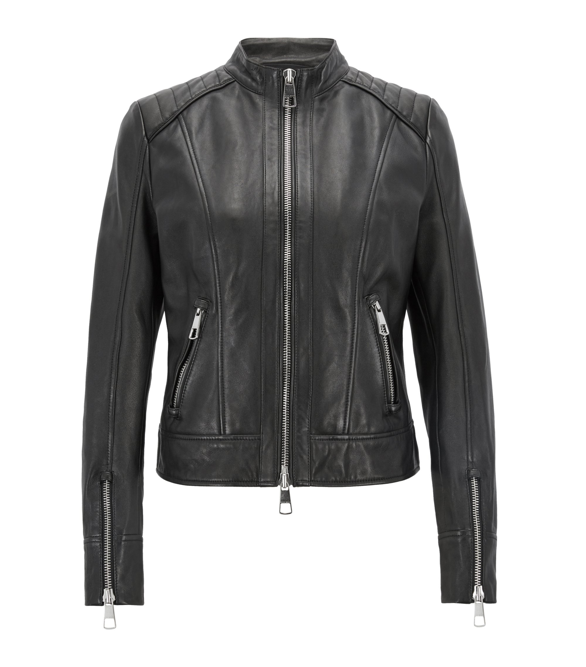 Regular-fit biker jacket in lambskin nappa leather, Black