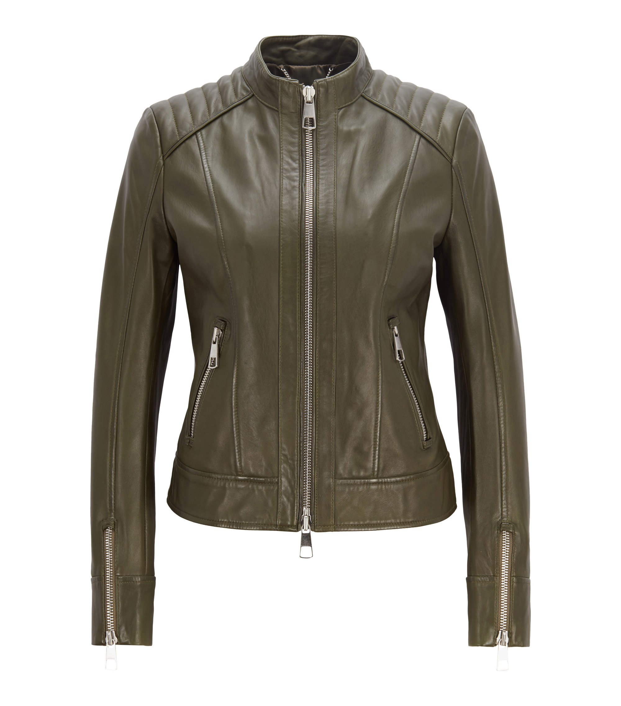 Regular-fit biker jacket in lambskin nappa leather, Khaki