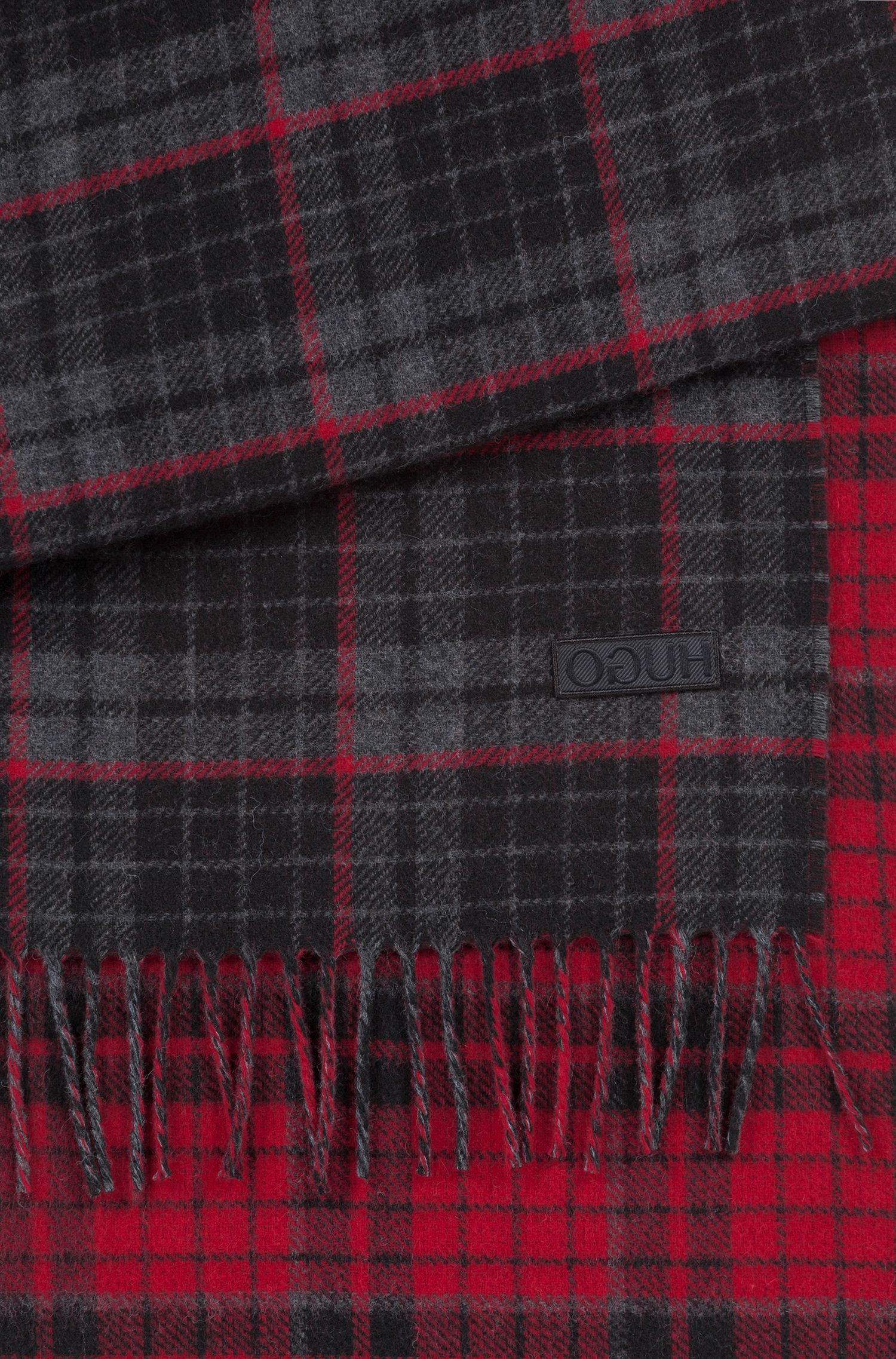 Checked scarf with embroidered reverse-logo badge, Anthracite