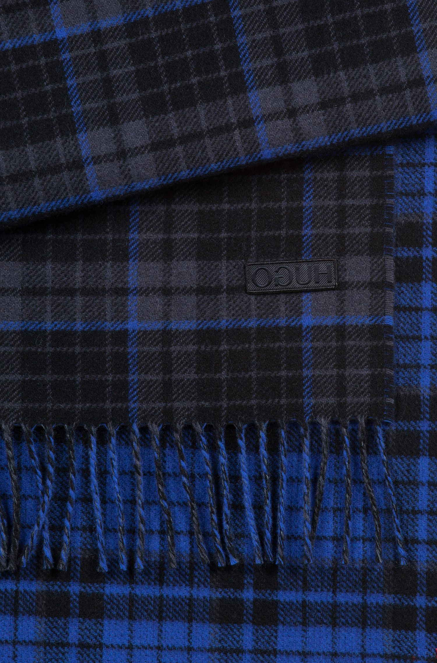 Checked scarf with embroidered reverse-logo badge, Dark Blue