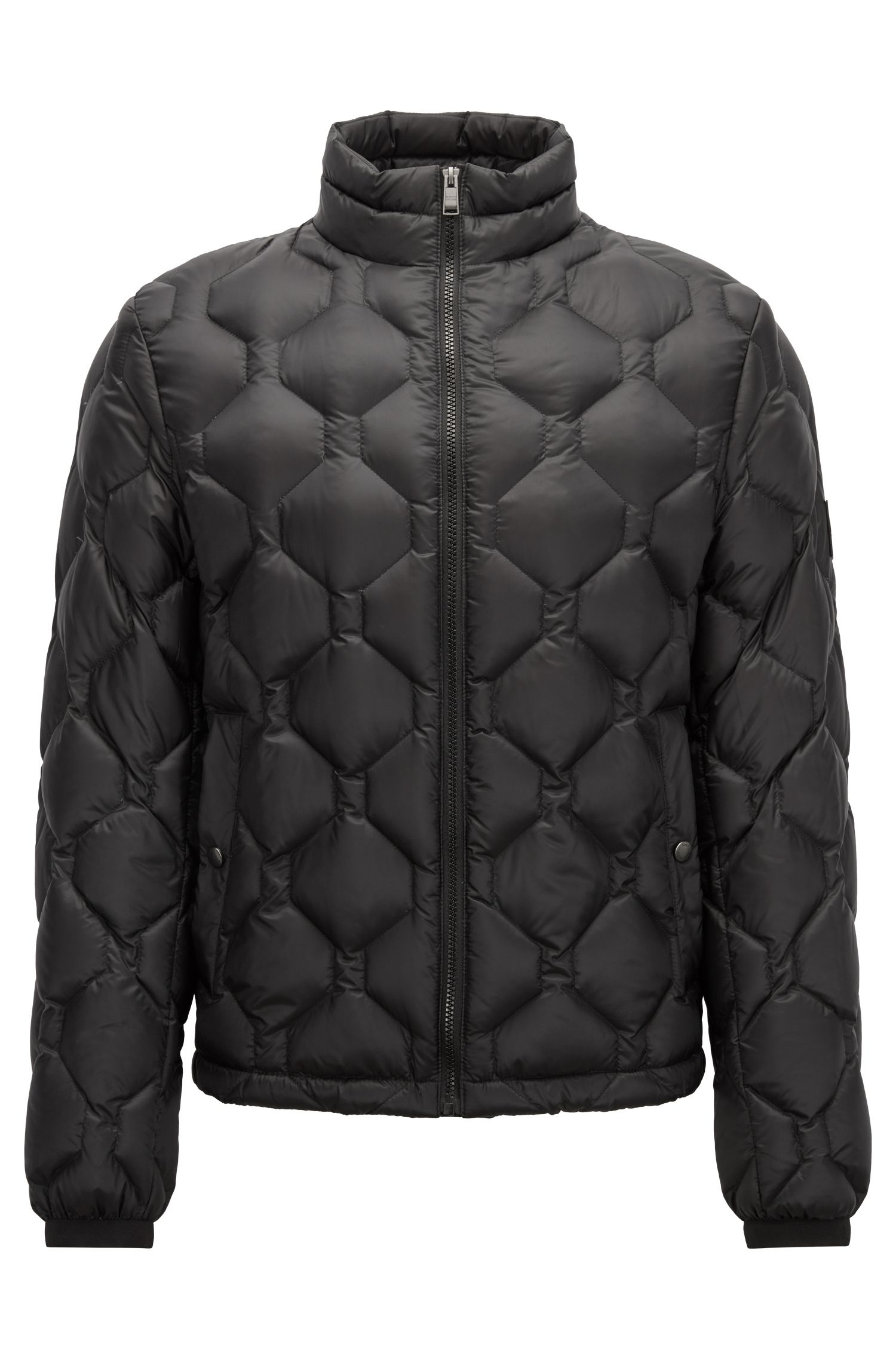 Blouson jacket in down-filled quilted technical fabric, Black