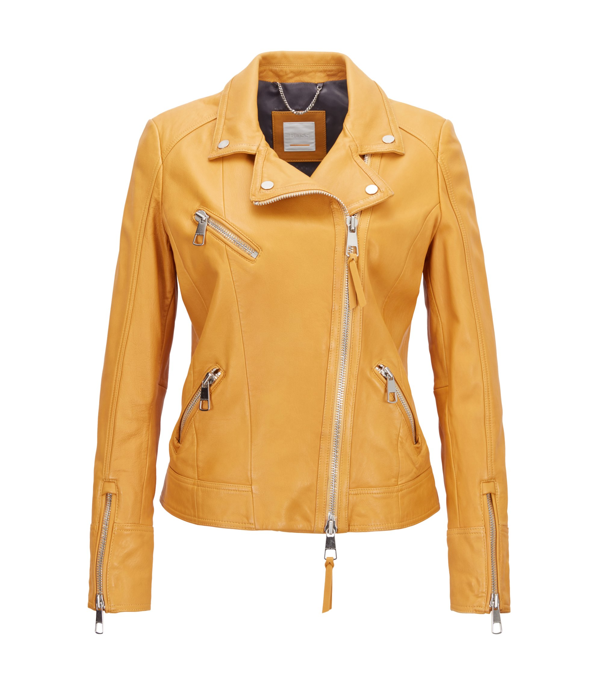 Asymmetric biker jacket in nappa lambskin, Gold