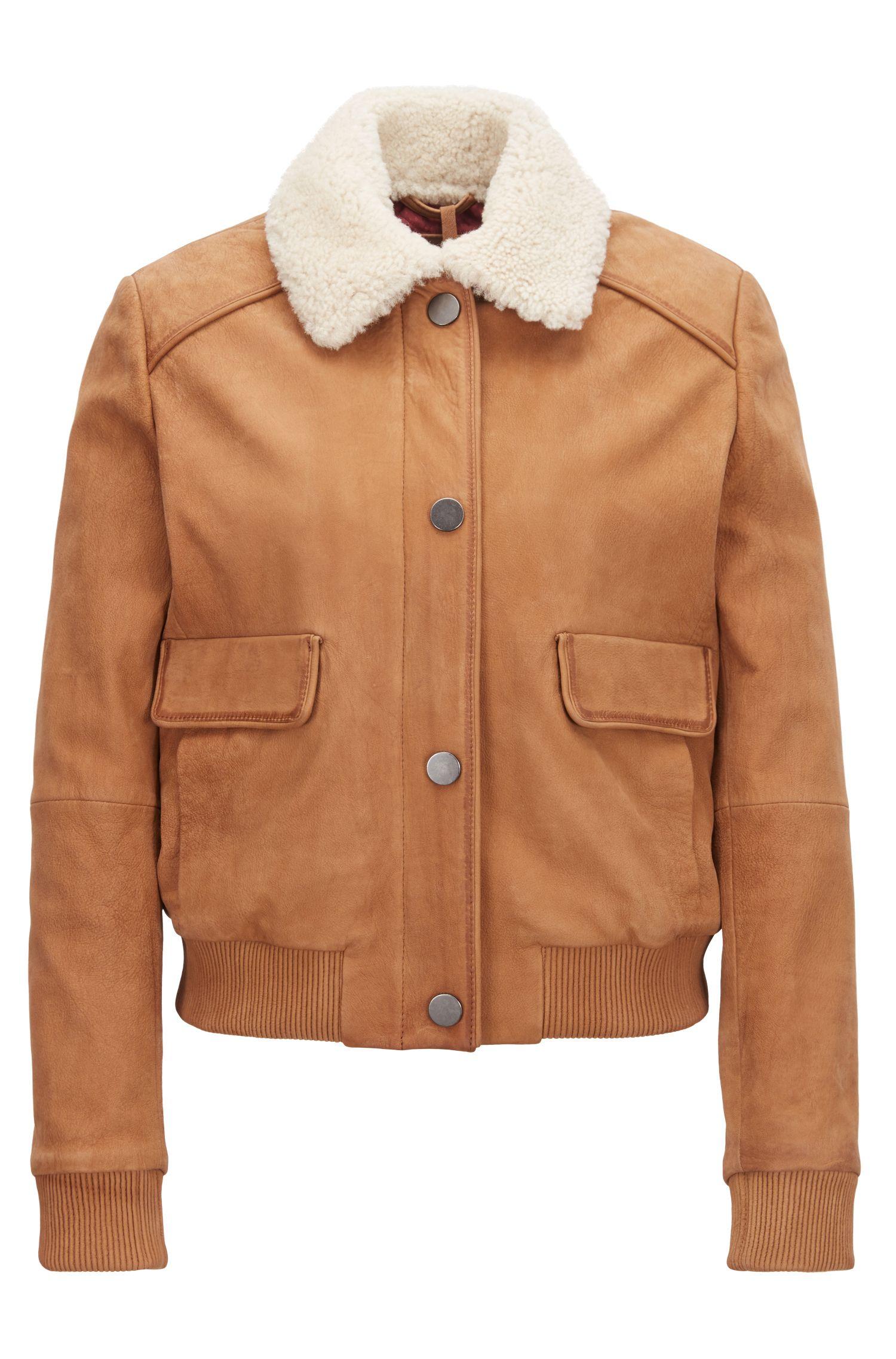Leren jas in bomberstijl met afneembare kraag van shearling, Lichtbruin