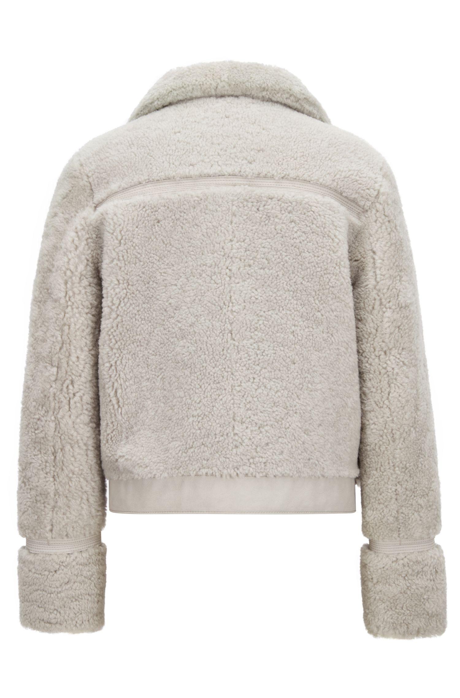 Veste en peau de mouton réversible, à surpiqûres, Argent