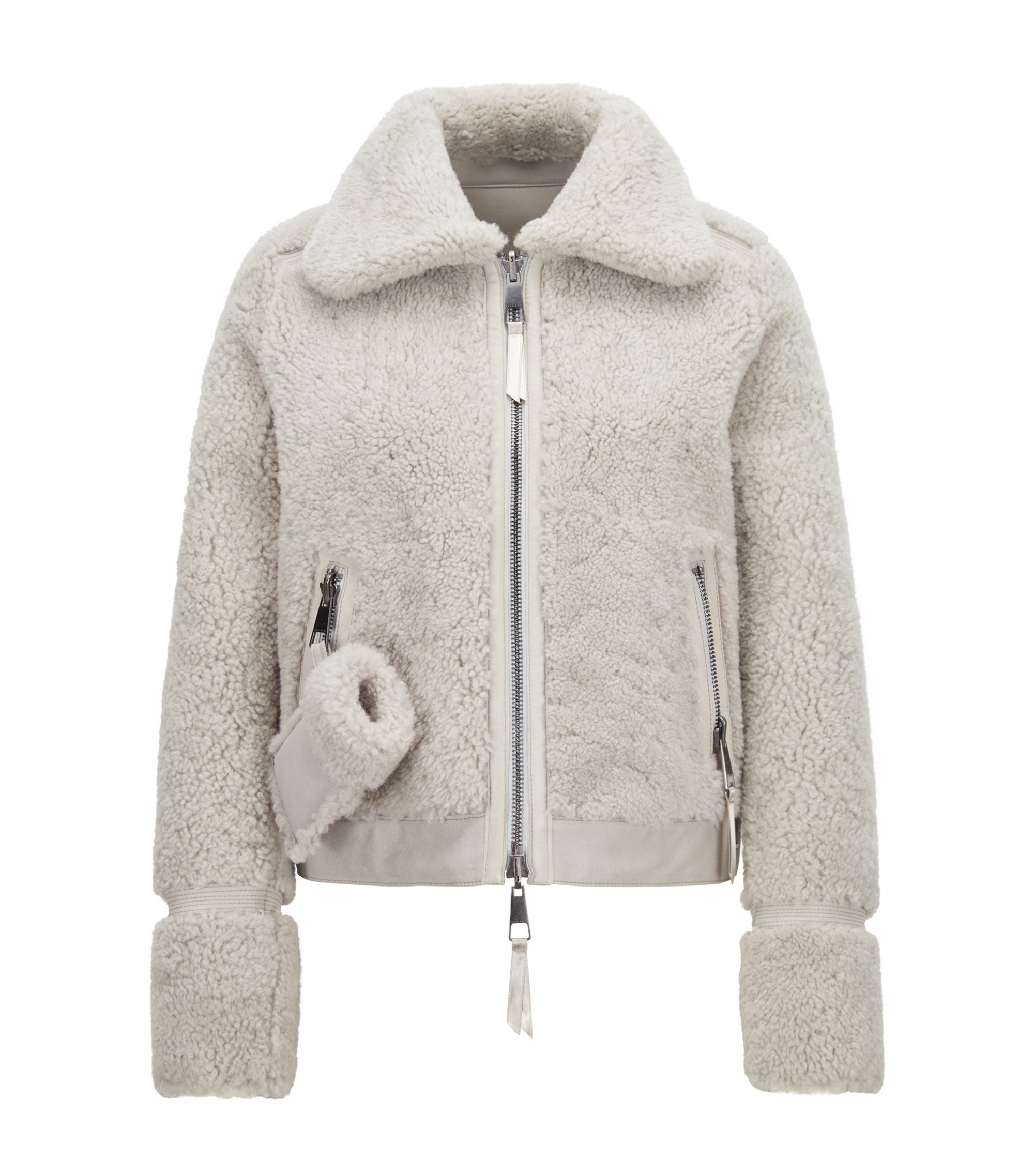 Reversible sheepskin jacket with stitch detailing, Silver
