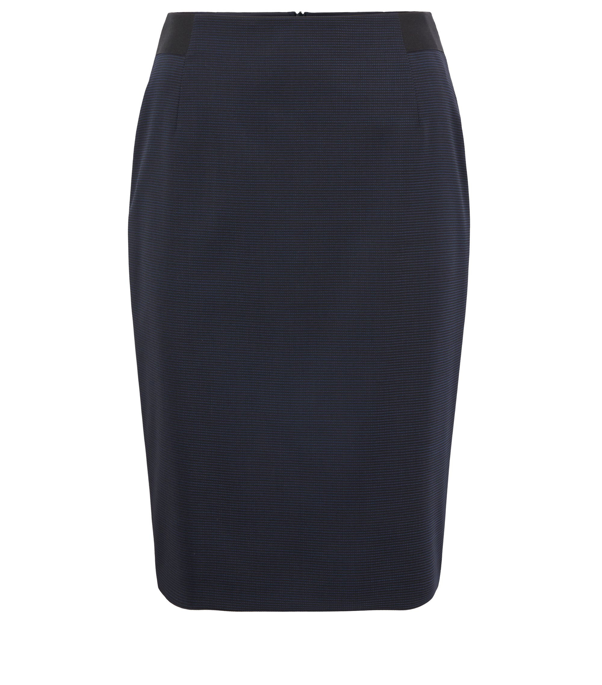 Micro-pattern pencil skirt in Italian stretch virgin wool, Patterned