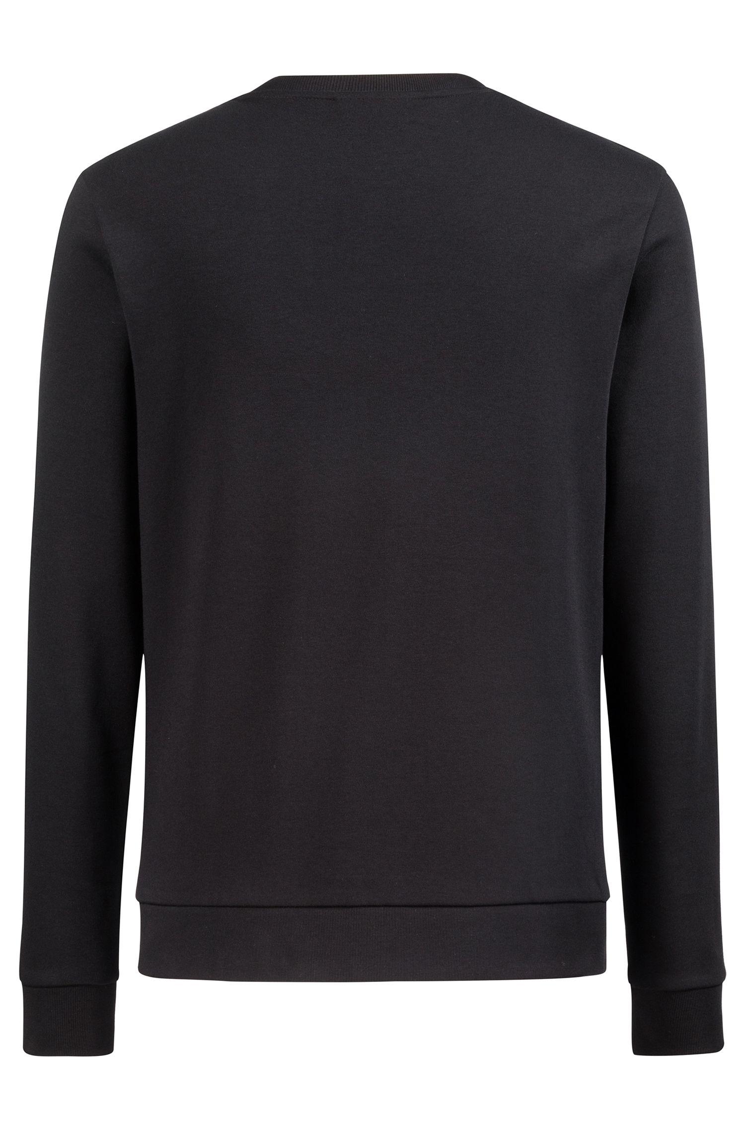 Sudadera de algodón de cuello redondo con logo invertido estampado, Negro