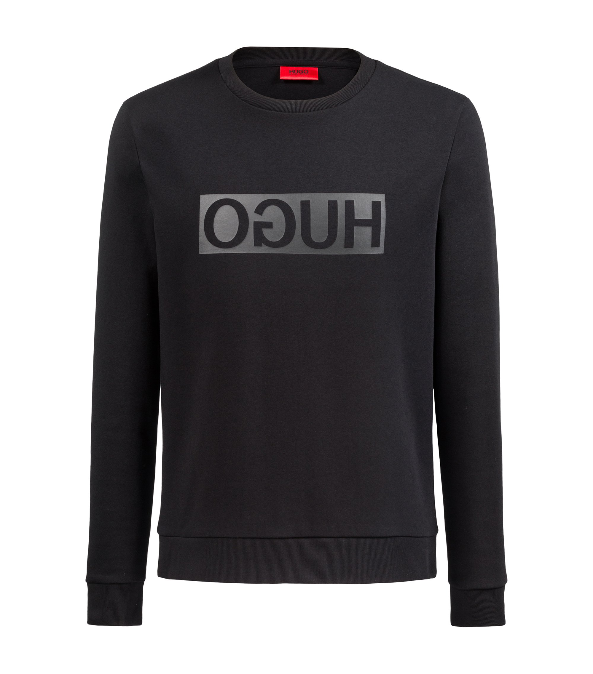 Crew-neck sweatshirt in cotton with reverse-logo print, Black
