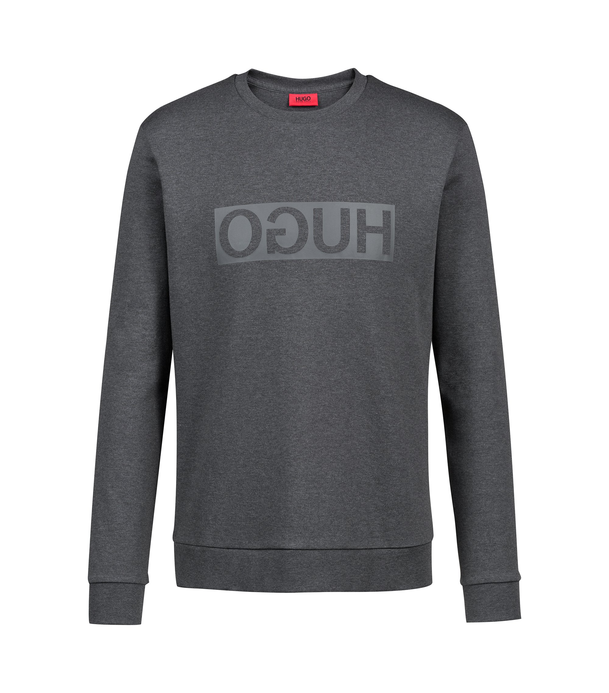 Crew-neck sweatshirt in cotton with reverse-logo print, Grey