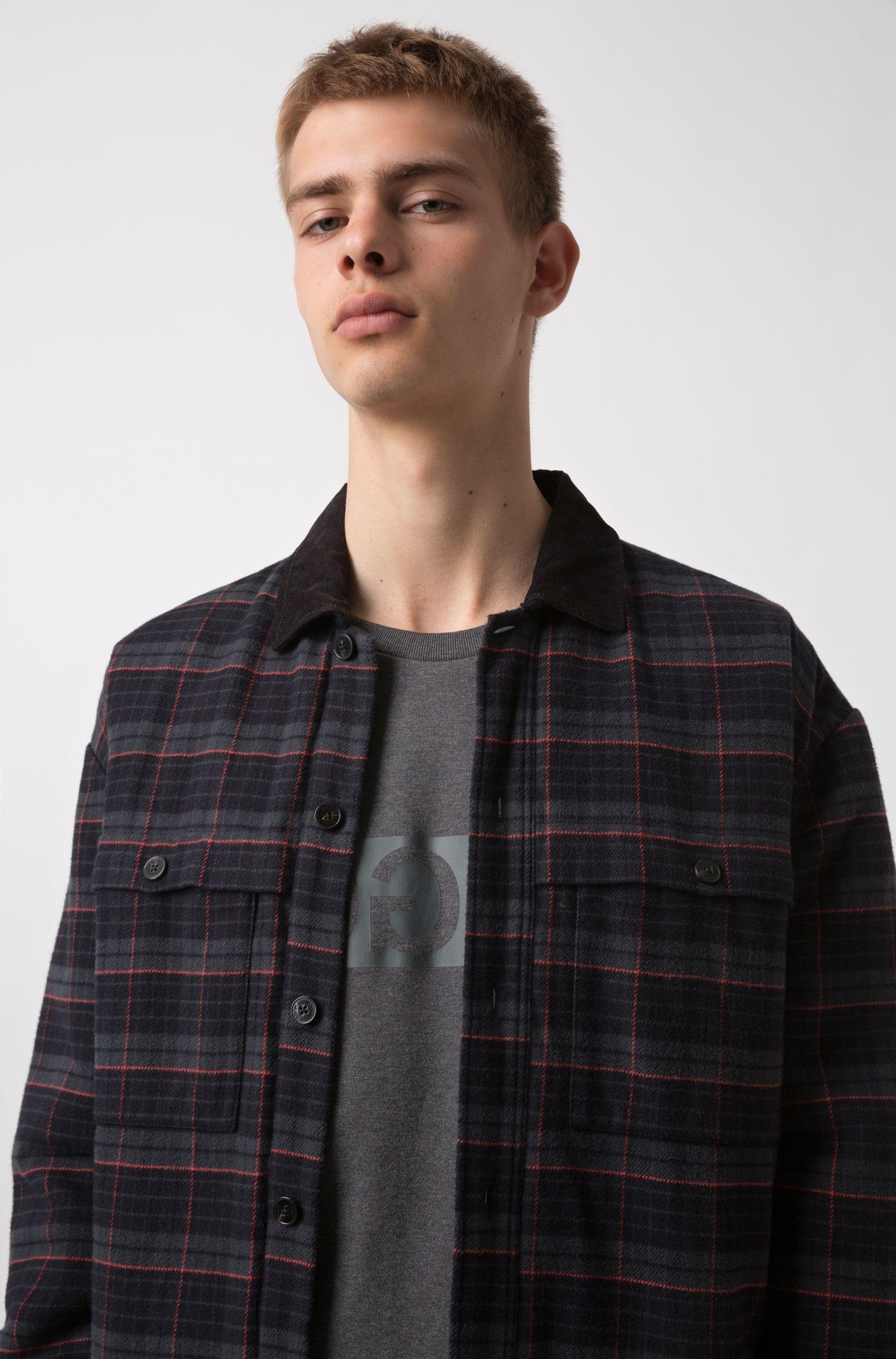 Sudadera de algodón de cuello redondo con logo invertido estampado, Gris