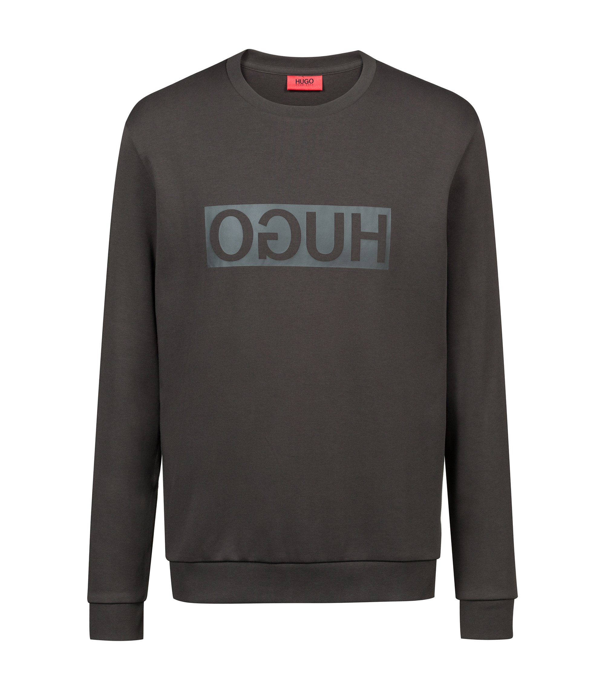 Crew-neck sweatshirt in cotton with reverse-logo print, Dark Green