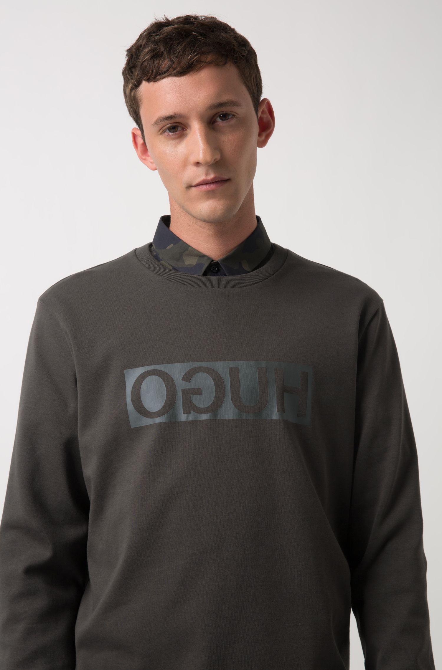 Sweater van katoen met ronde hals en gespiegelde logoprint, Donkergroen