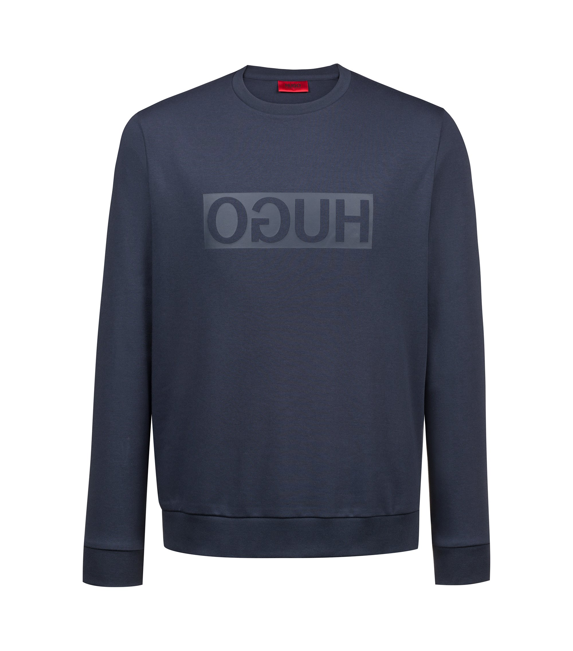 Crew-neck sweatshirt in cotton with reverse-logo print, Dark Blue