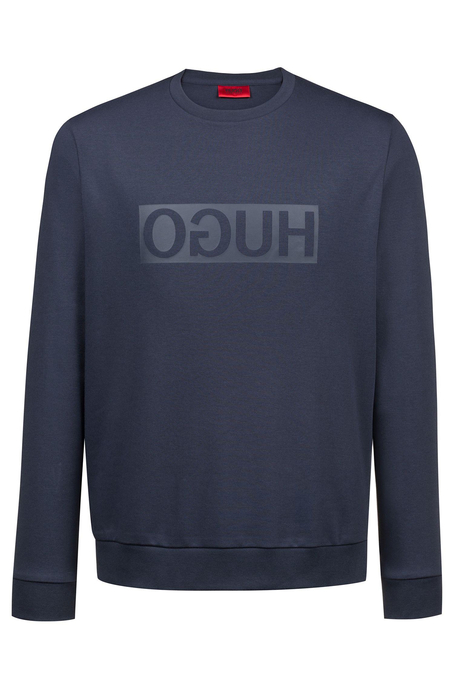 Sweater van katoen met ronde hals en gespiegelde logoprint, Donkerblauw