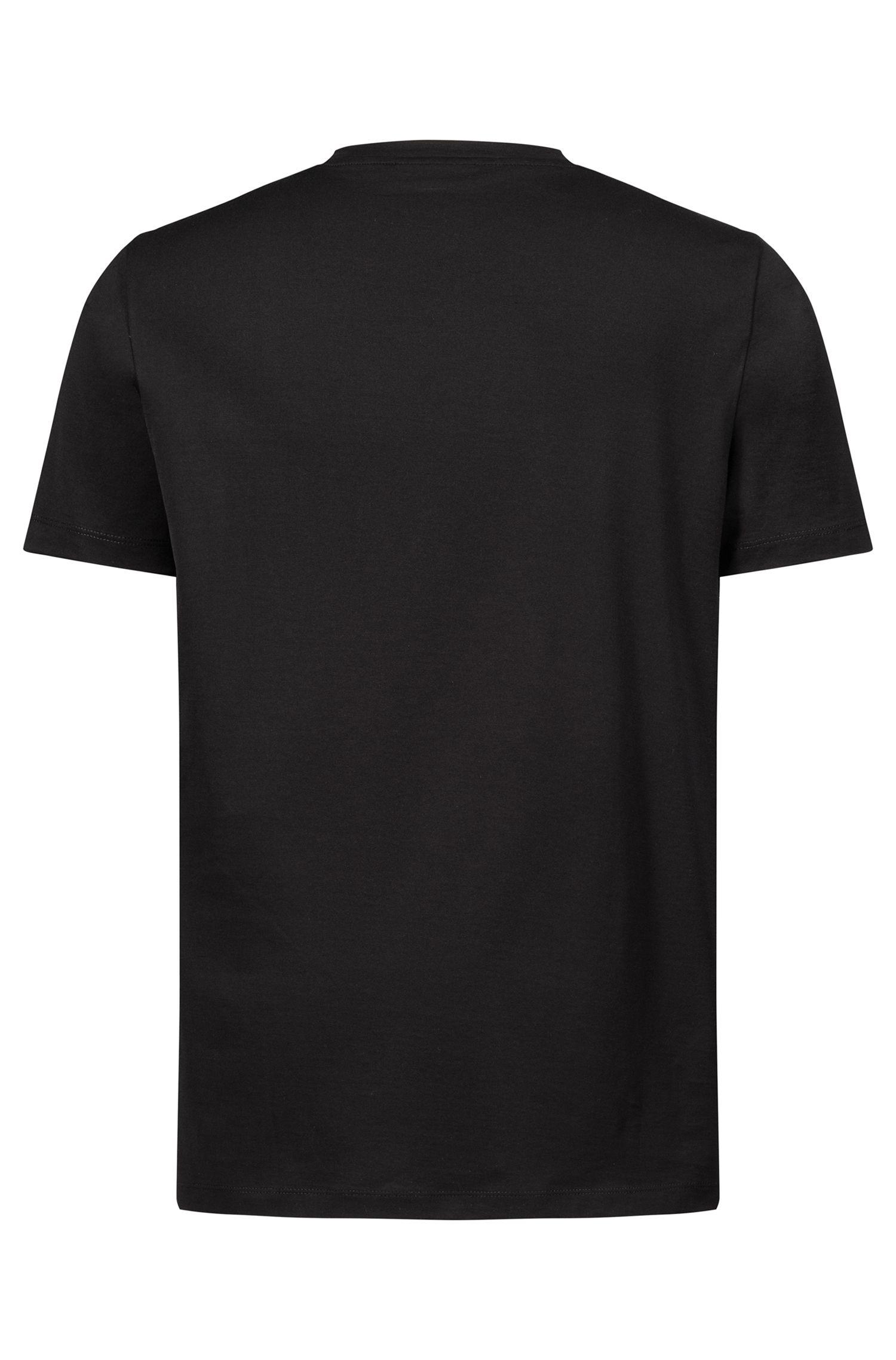 T-Shirt aus Baumwolle mit spiegelverkehrtem Logo-Print, Schwarz