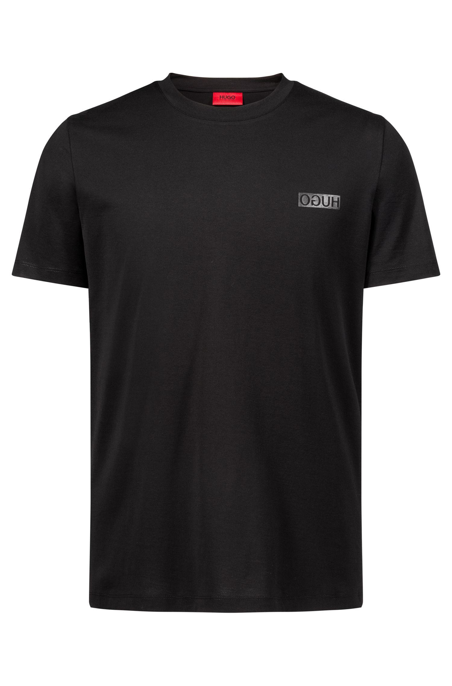 Camiseta de algodón con logo invertido, Negro