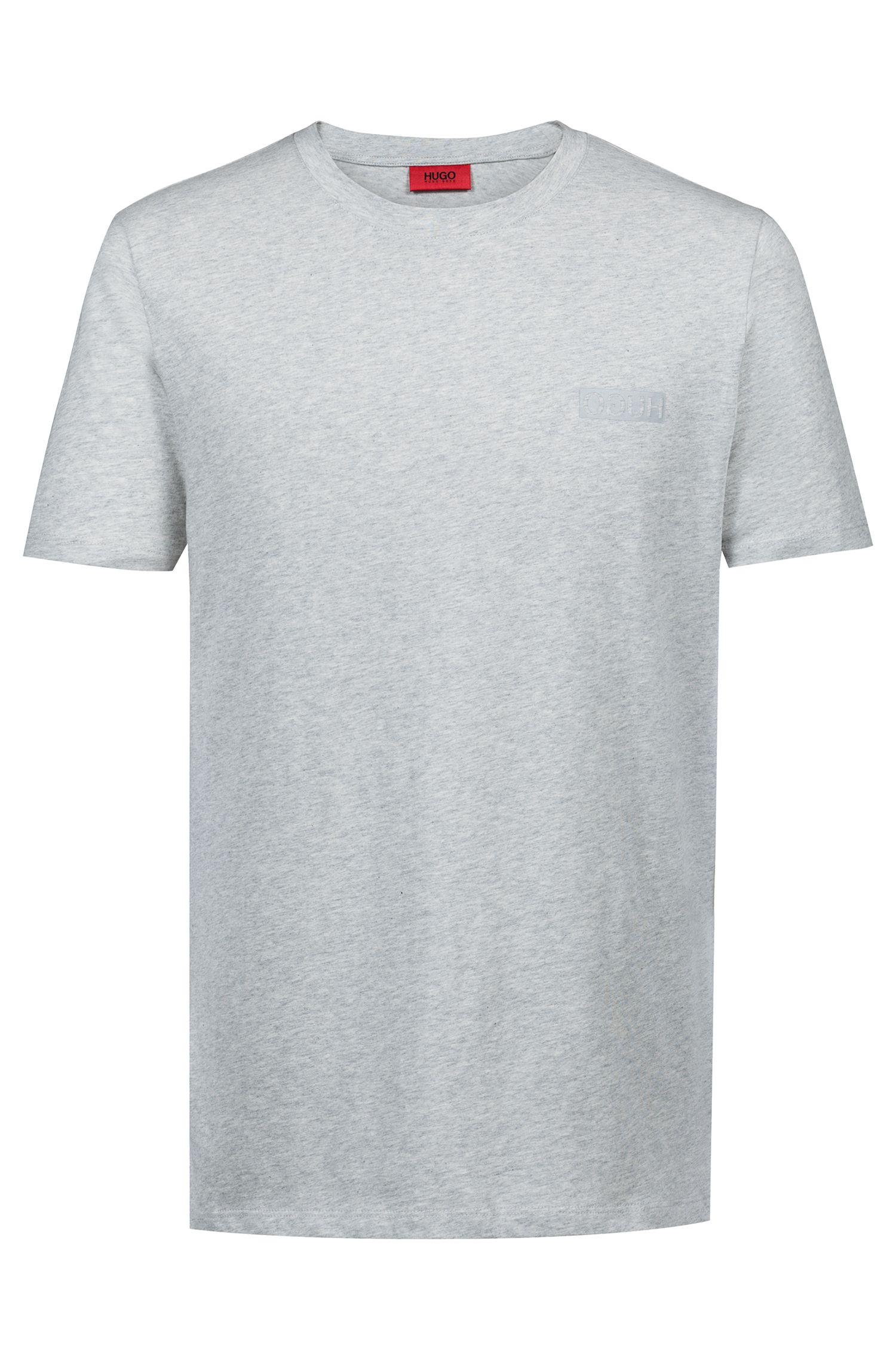 Katoenen T-shirt met gespiegeld logo, Lichtgrijs