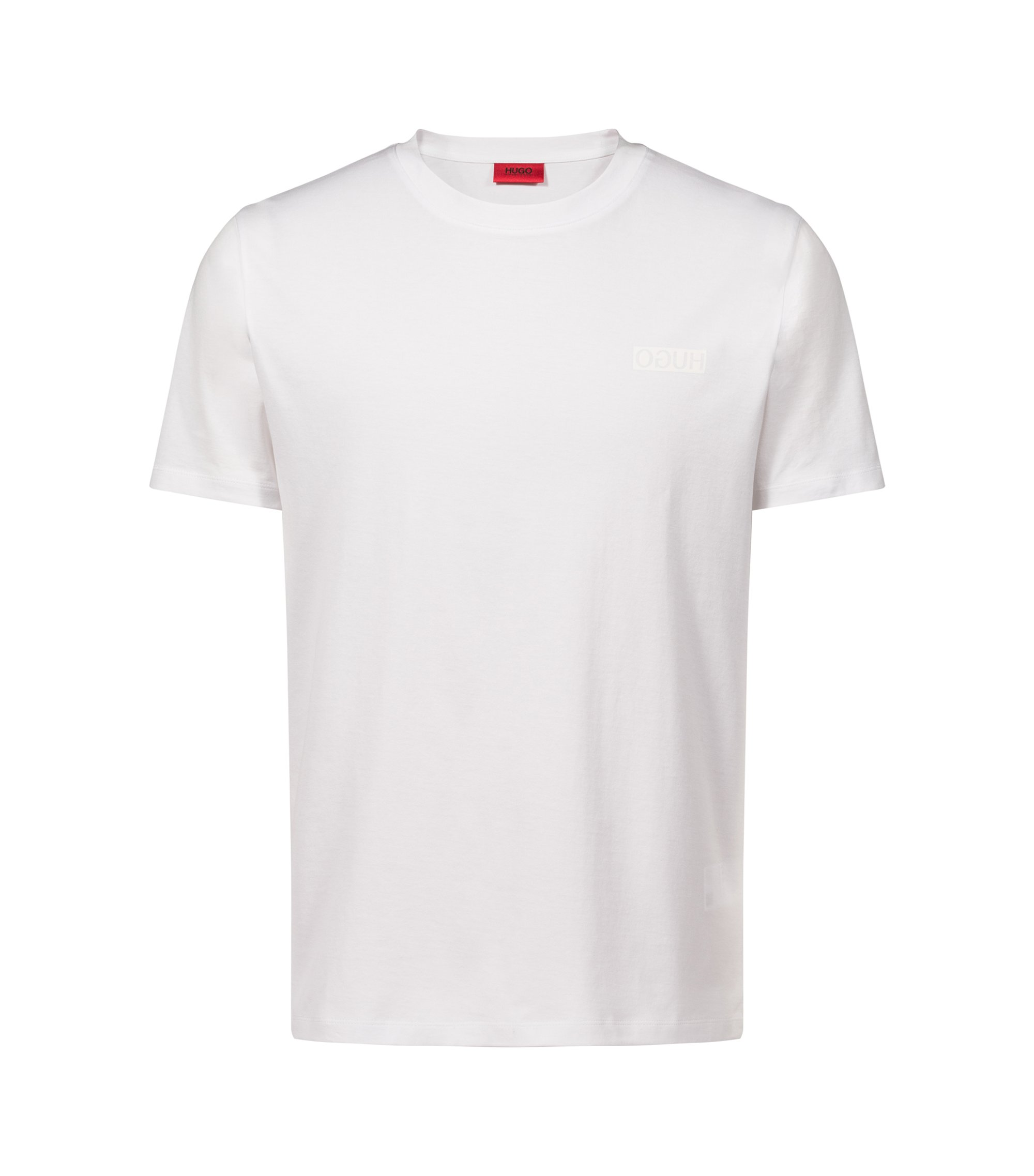 Cotton T-shirt with reverse logo, Weiß
