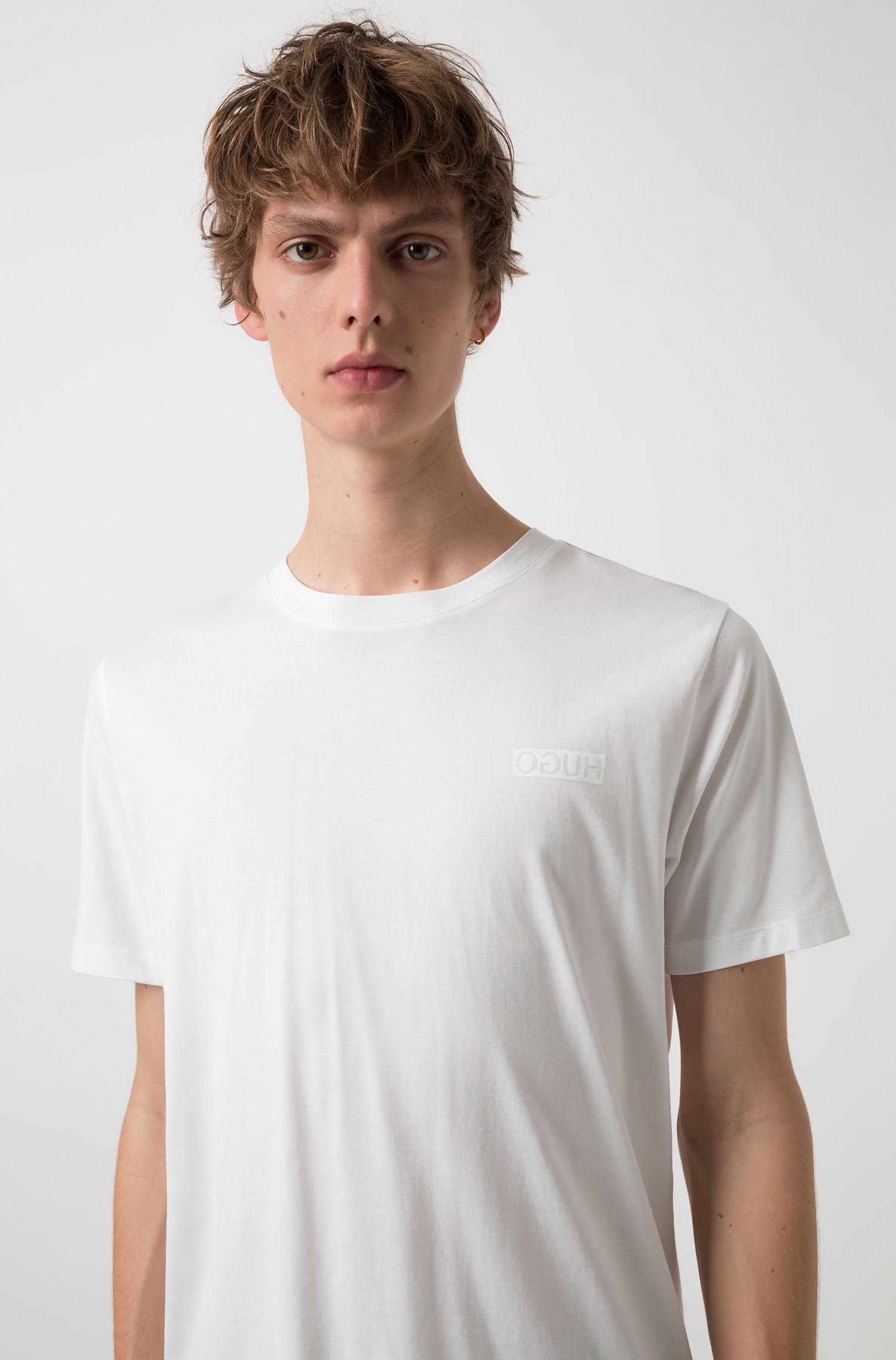 Cotton T-shirt with reverse logo, White