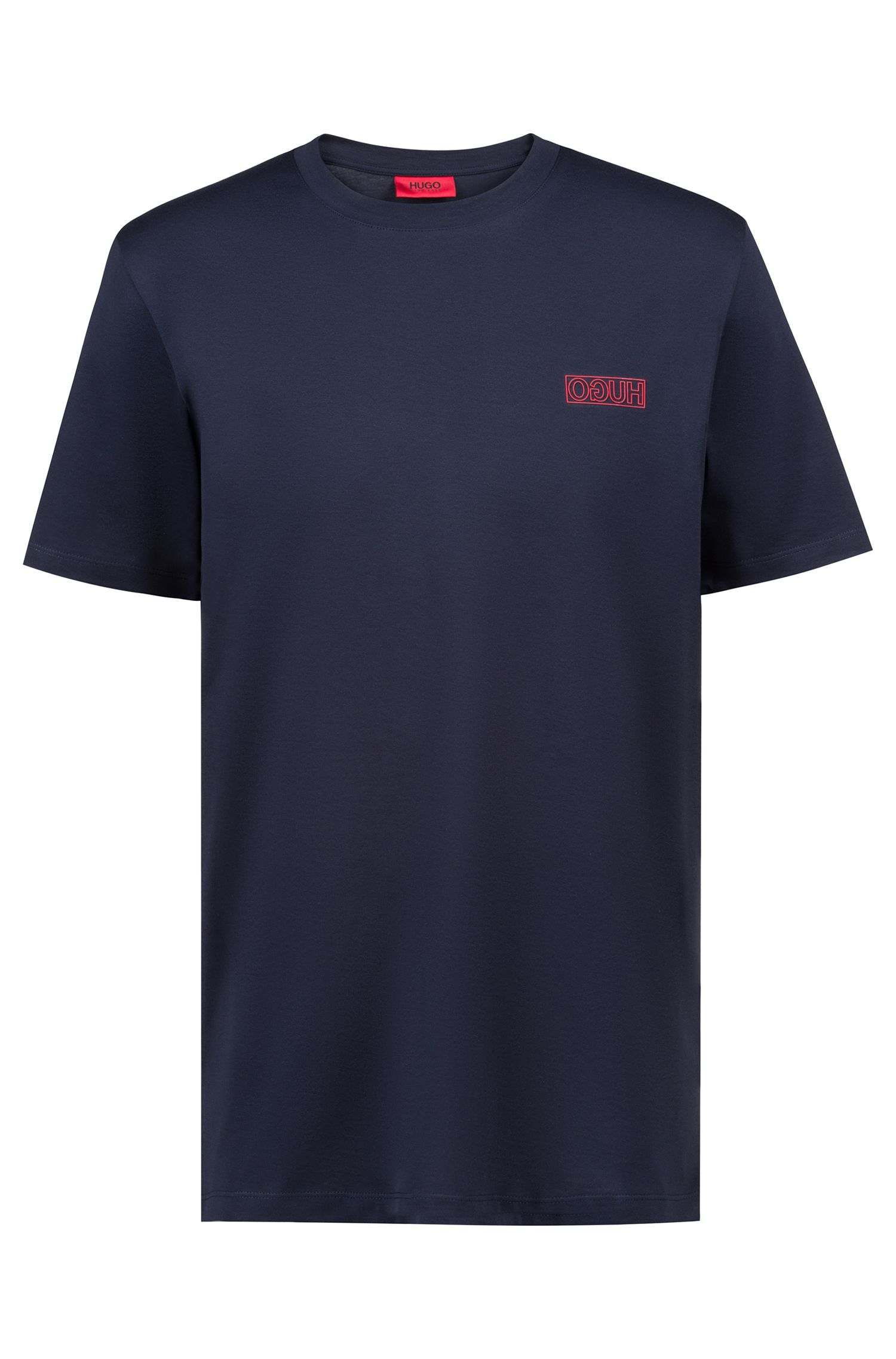Cotton T-shirt with reverse logo, Dark Blue