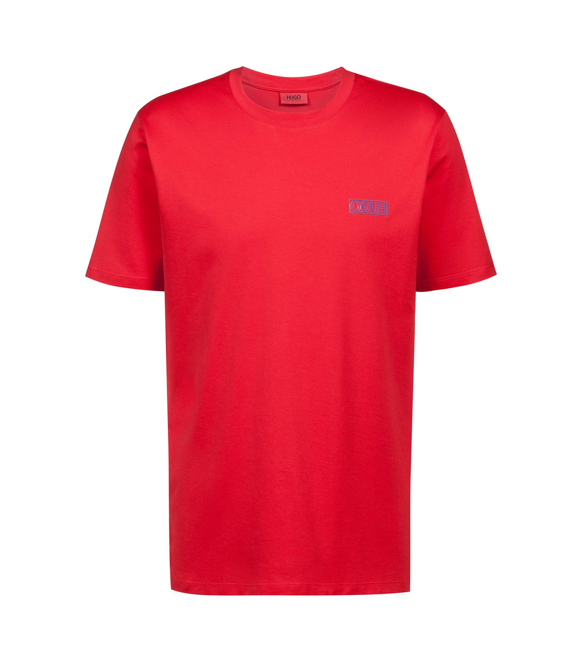 Katoenen T-shirt met gespiegeld logo, Rood