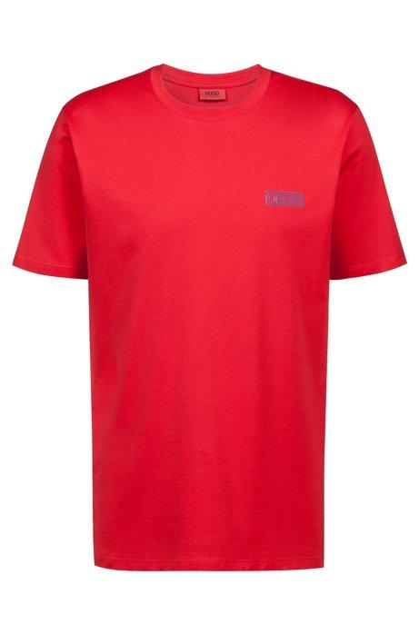 T-shirt en coton avec logo inversé, Rouge