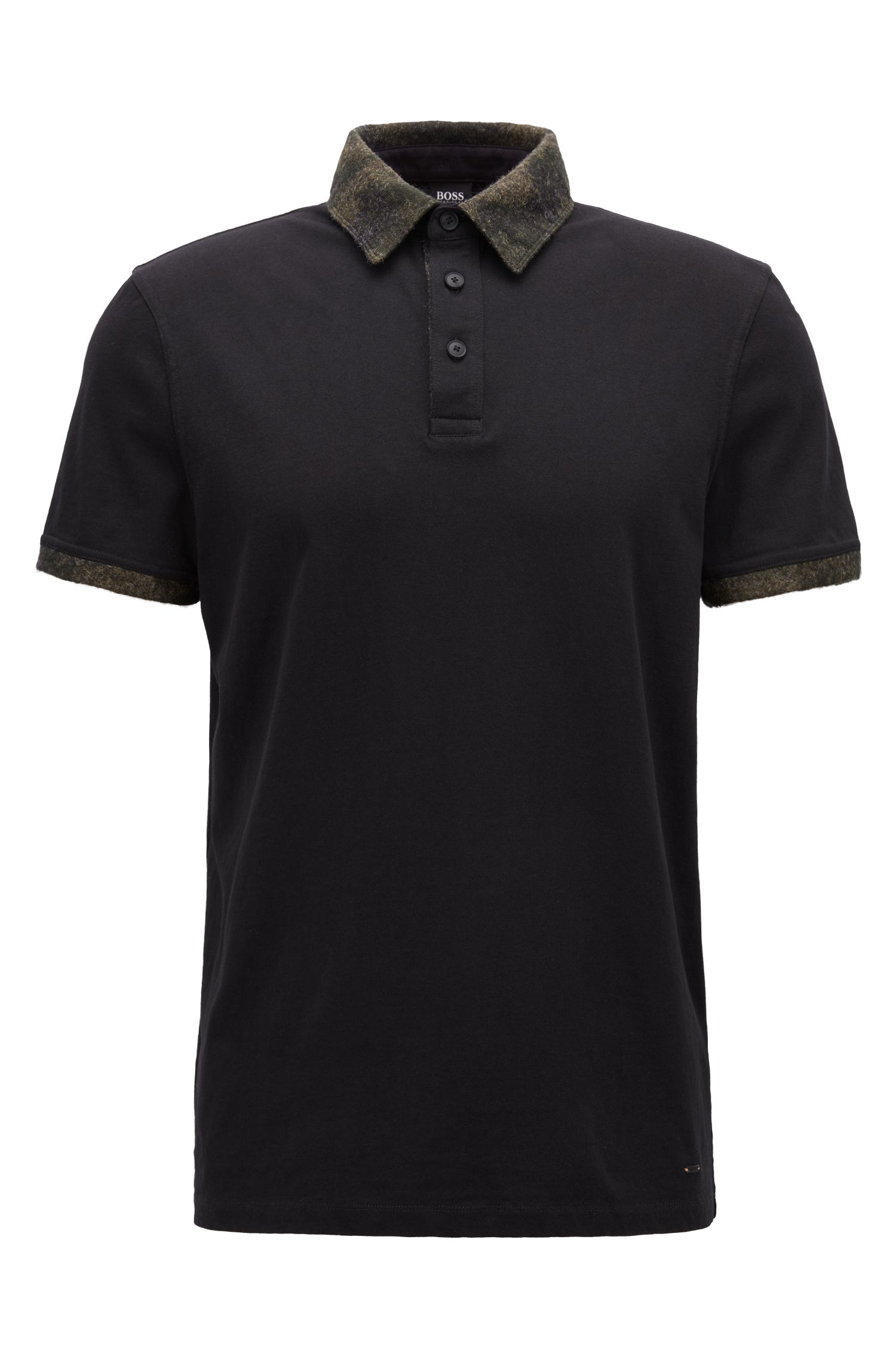 Relaxed-fit cotton polo shirt with contrast fabric detailing, Black