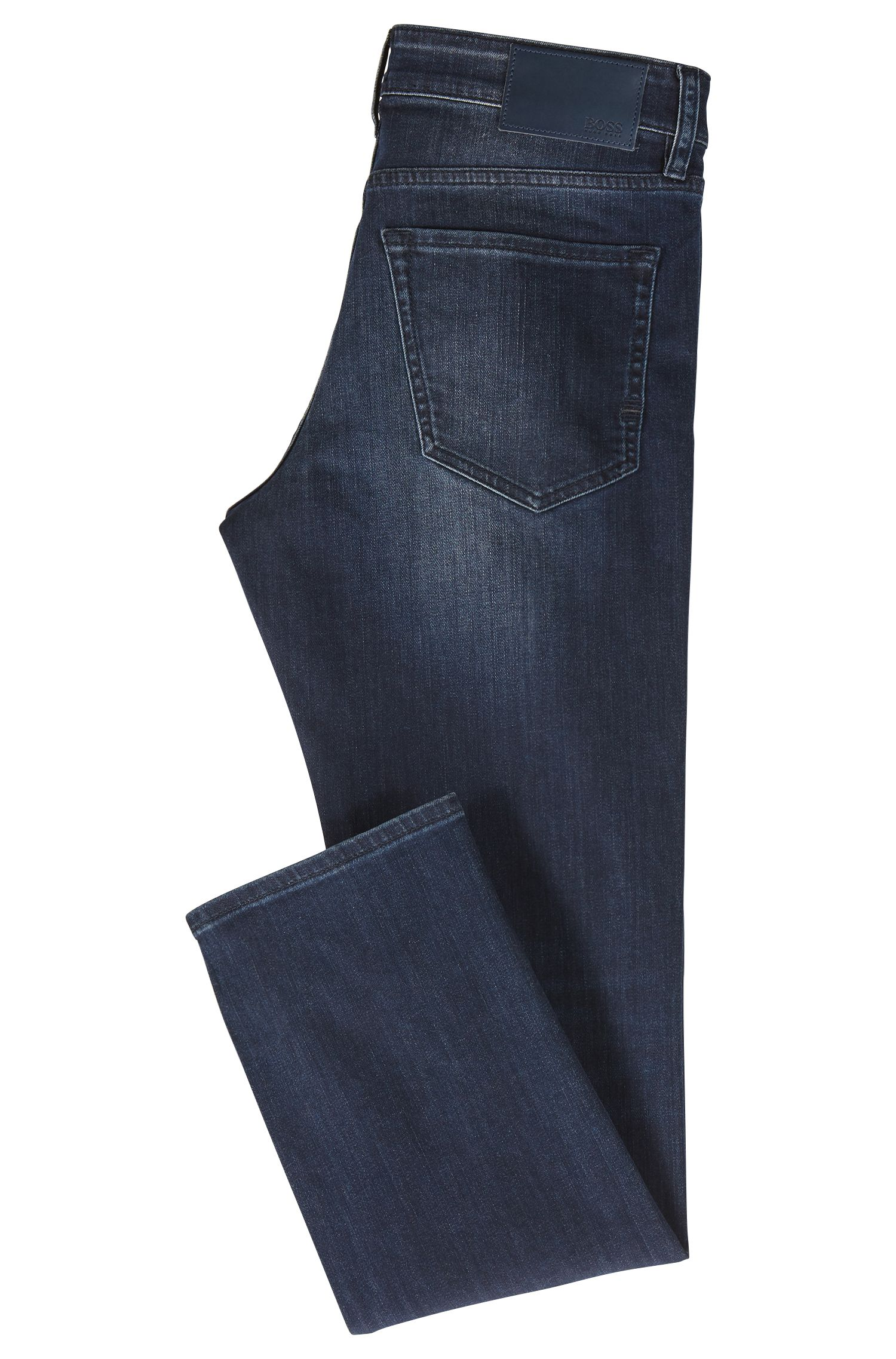 Regular-Fit Jeans aus elastischem Stone-washed Denim, Blau