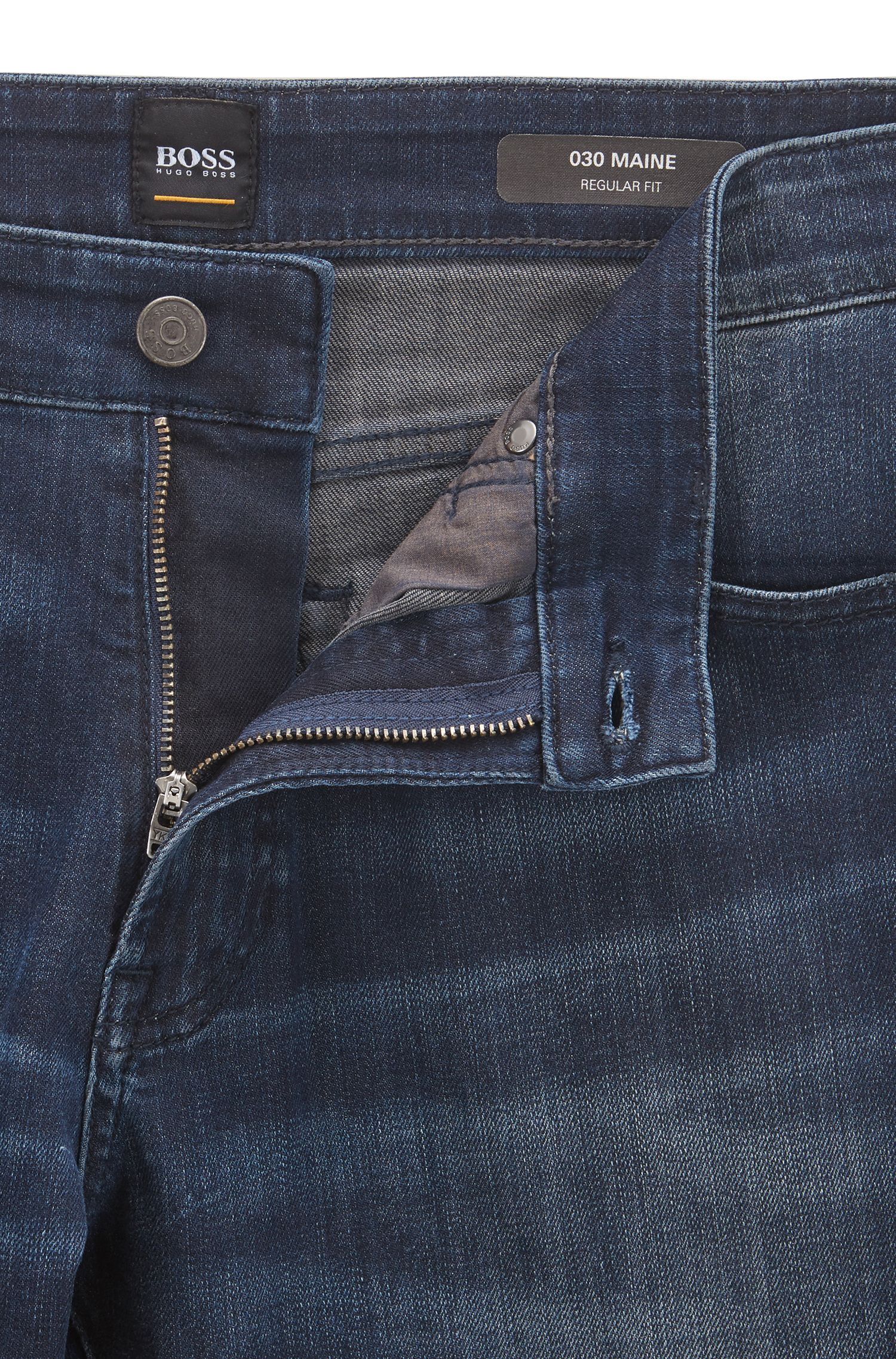 Jean à jambes droites en denim stretch stone-washed, Bleu