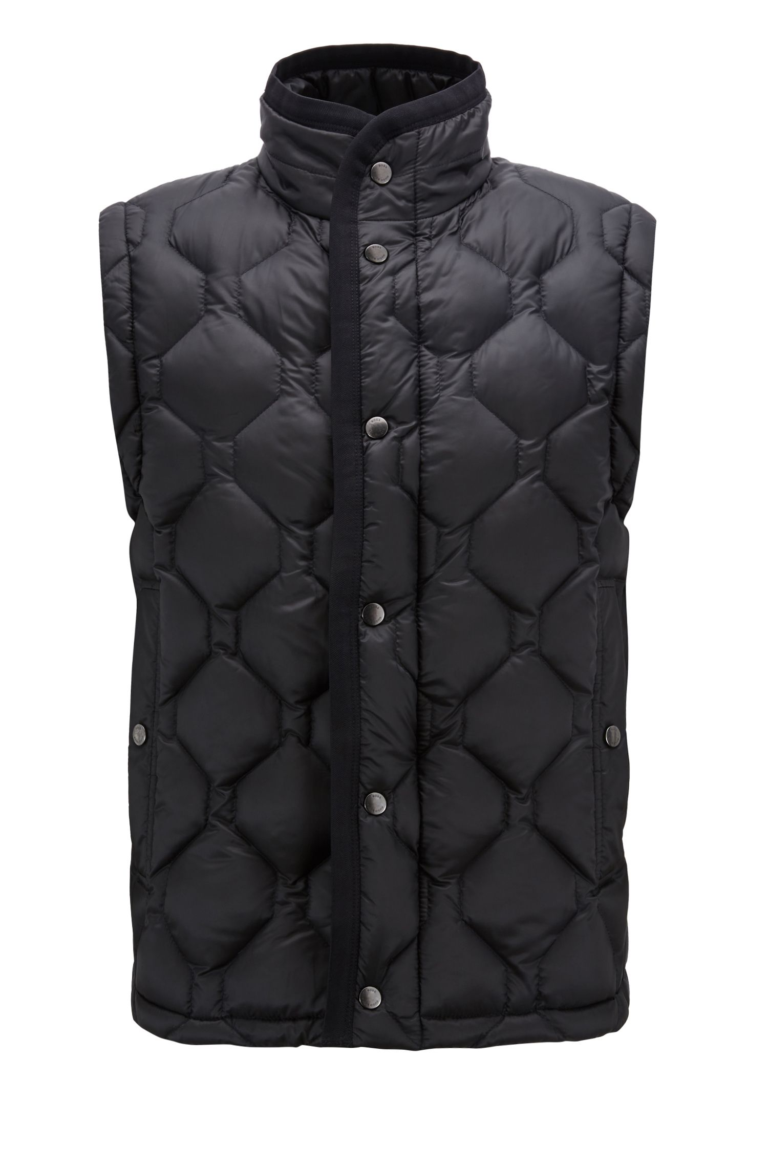 Regular-fit down-filled gilet with water-repellent outer, Dark Blue