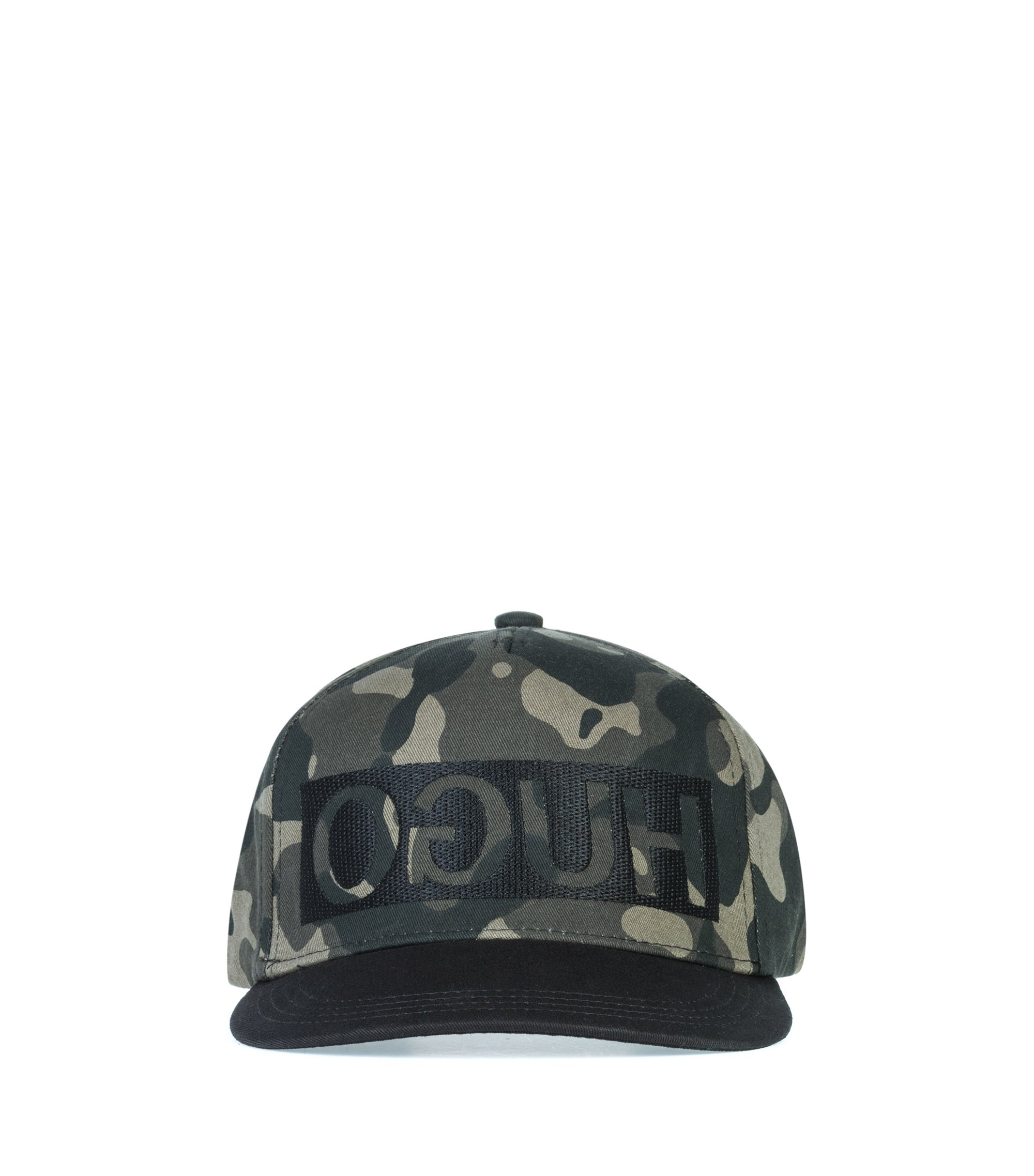 Reverse-logo snapback cap in camouflage cotton gabardine, Patterned