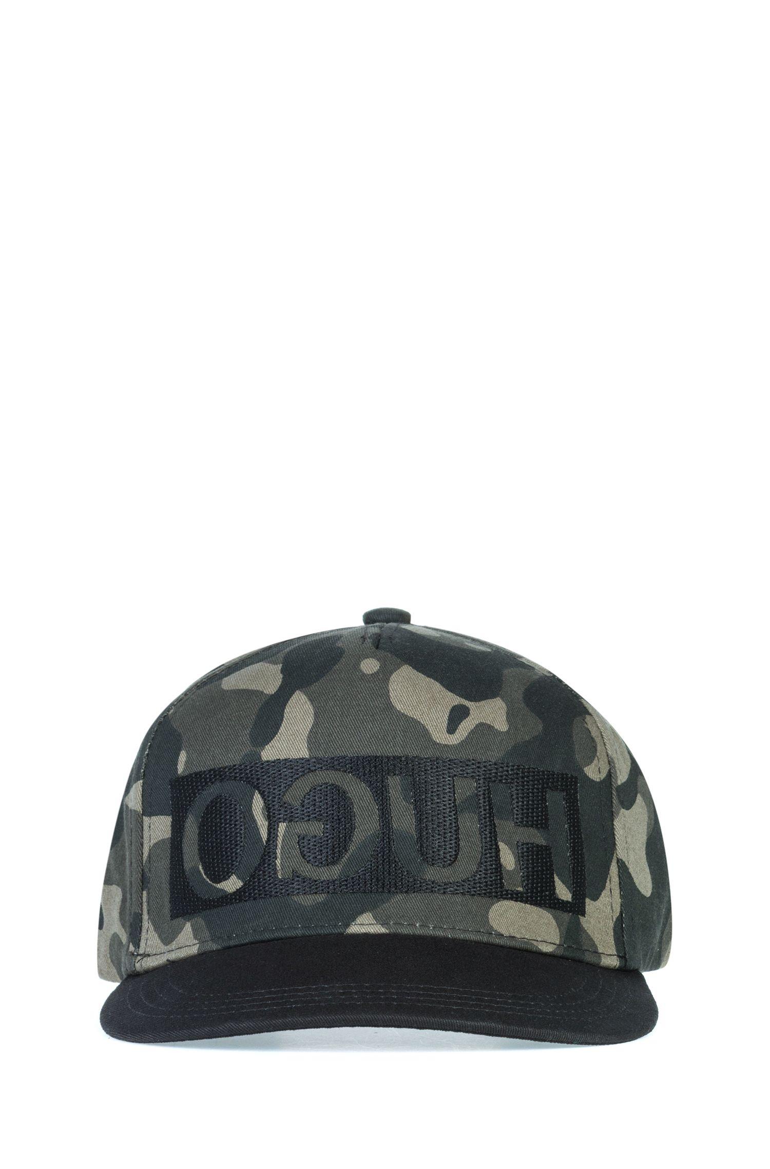 Reverse-logo snapback cap in camouflage cotton gabardine, Patterned