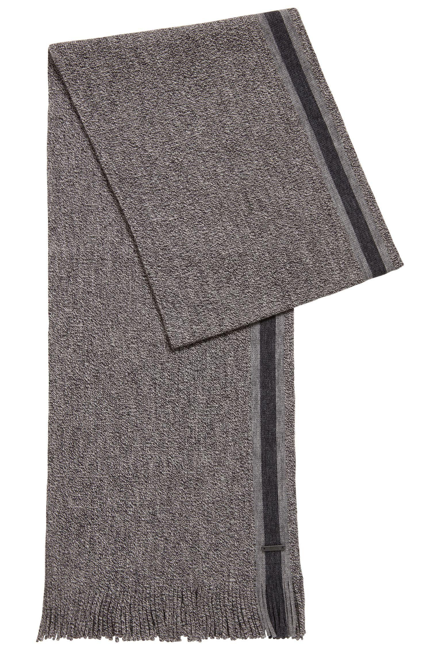 Sjaal van scheerwol met technische streep, Zwart