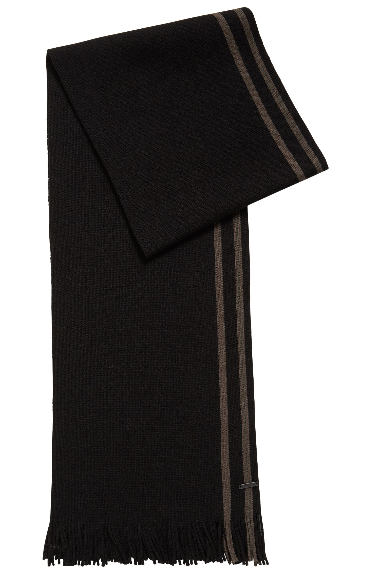 Virgin-wool scarf with engineered stripe, Dark Green