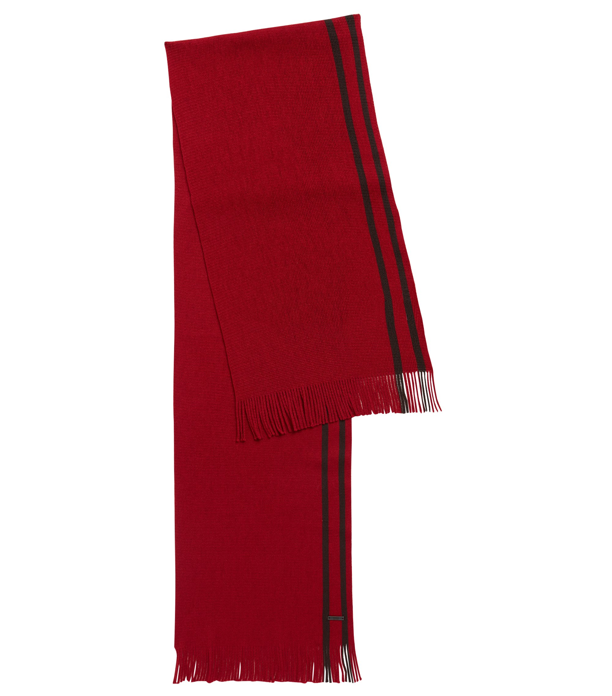 Virgin-wool scarf with engineered stripe, Dark Red