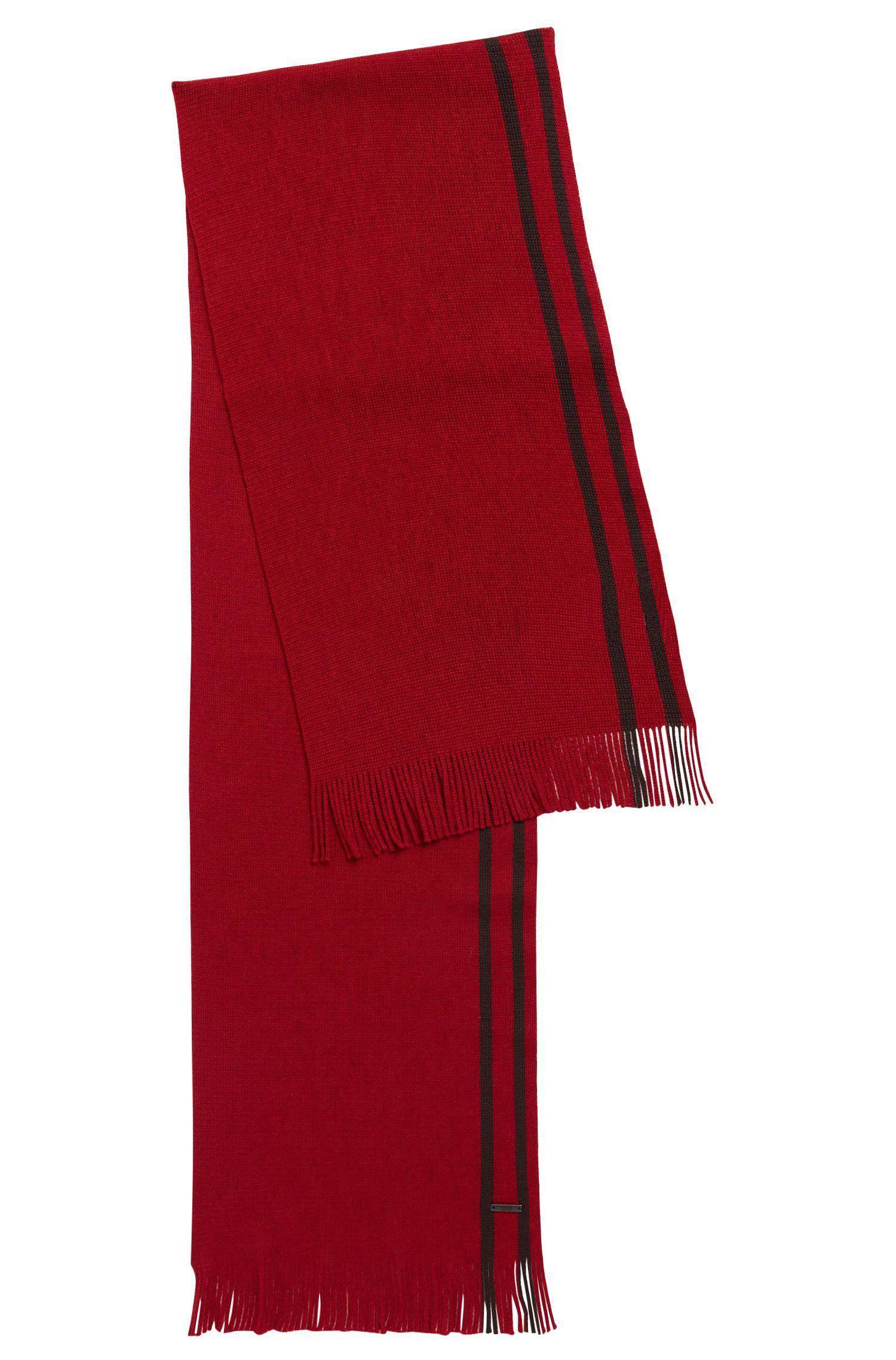 Sjaal van scheerwol met technische streep, Donkerrood